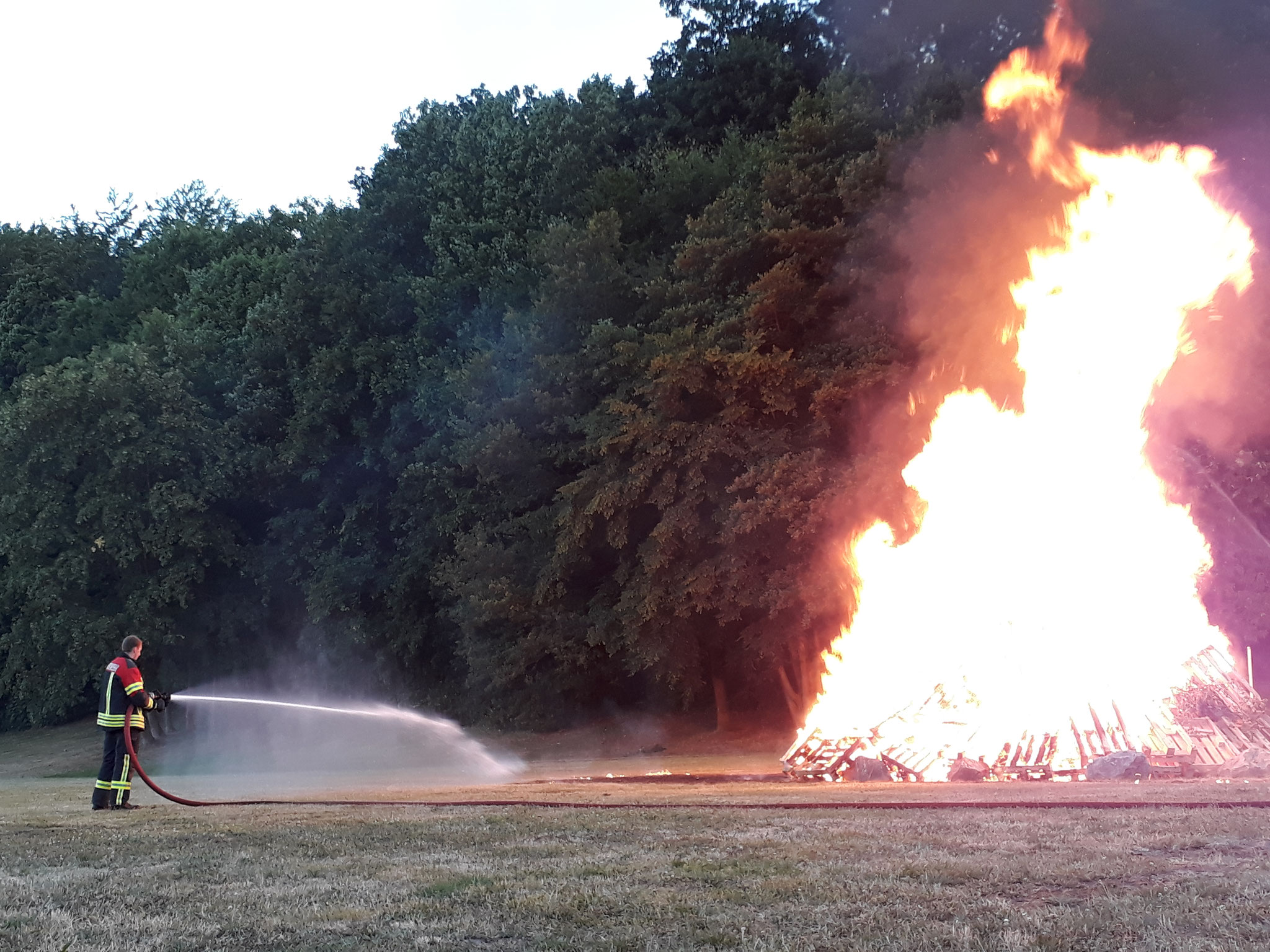 Die Wiese wurde gewässert um ein Ausbreiten des Feuers zu verhindern