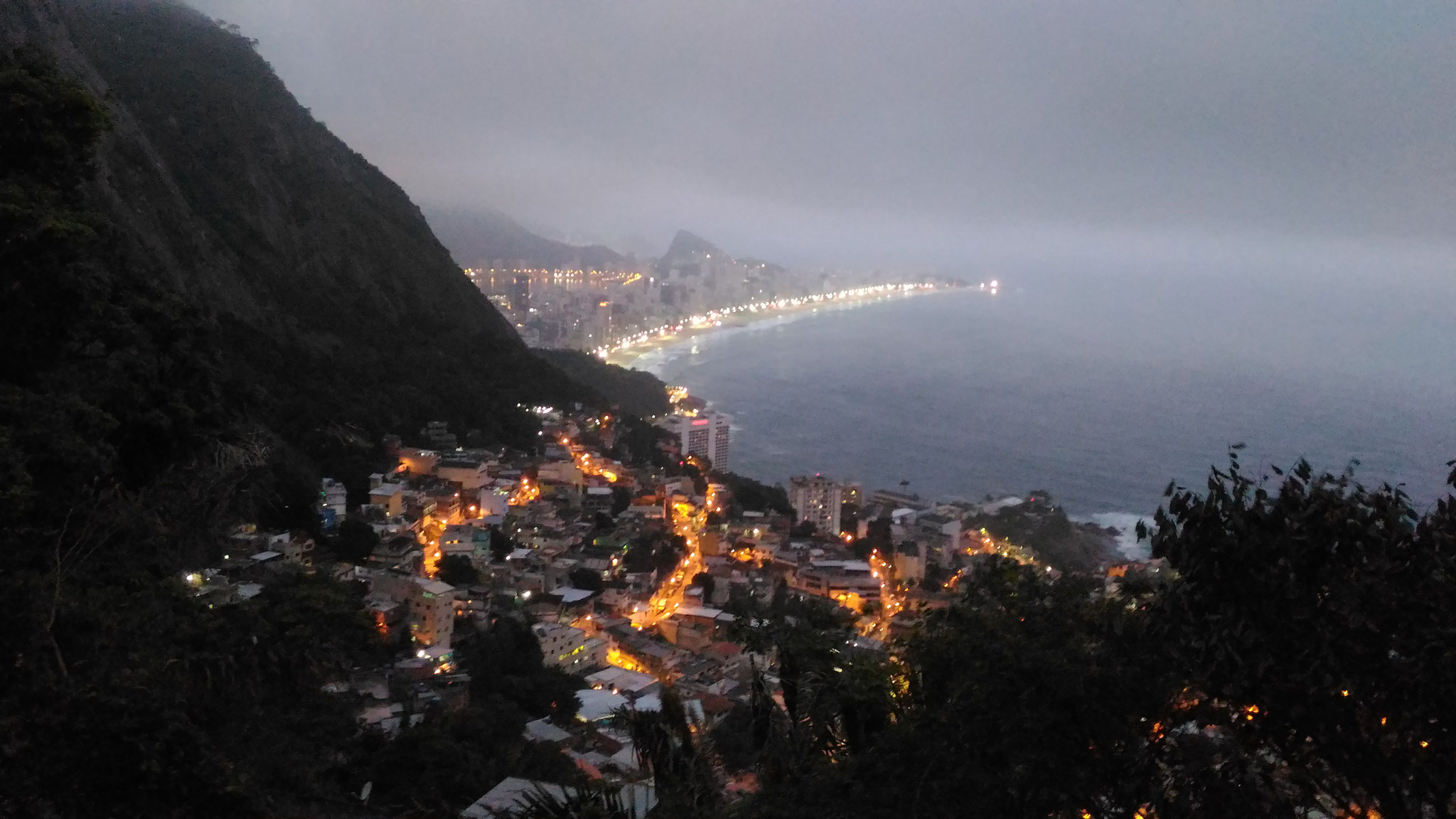 going down the favela at night