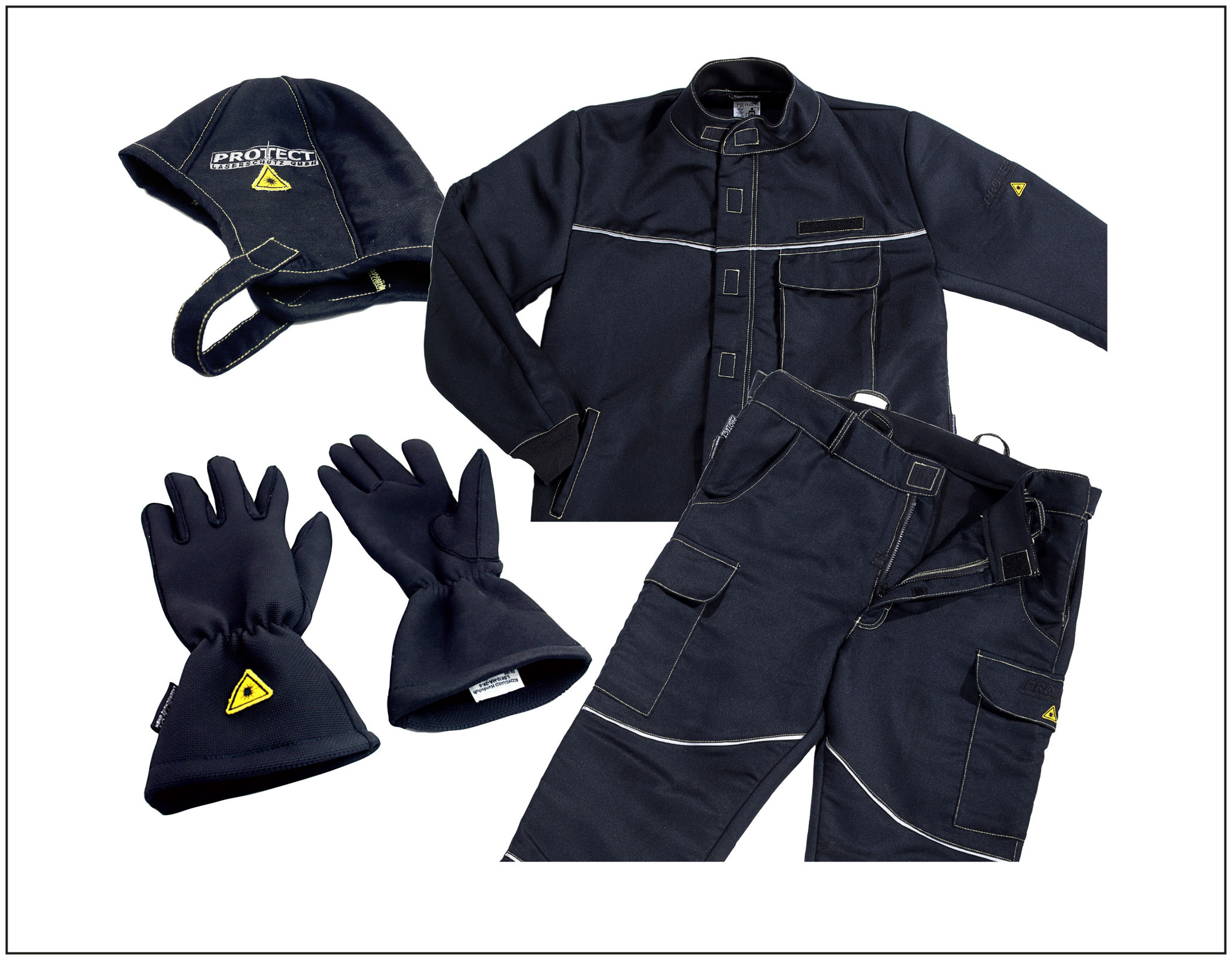 Laser safety clothing, gloves and headgear BODYGUARD for  laser and welding protection, certified according to EN 11611  and 11612