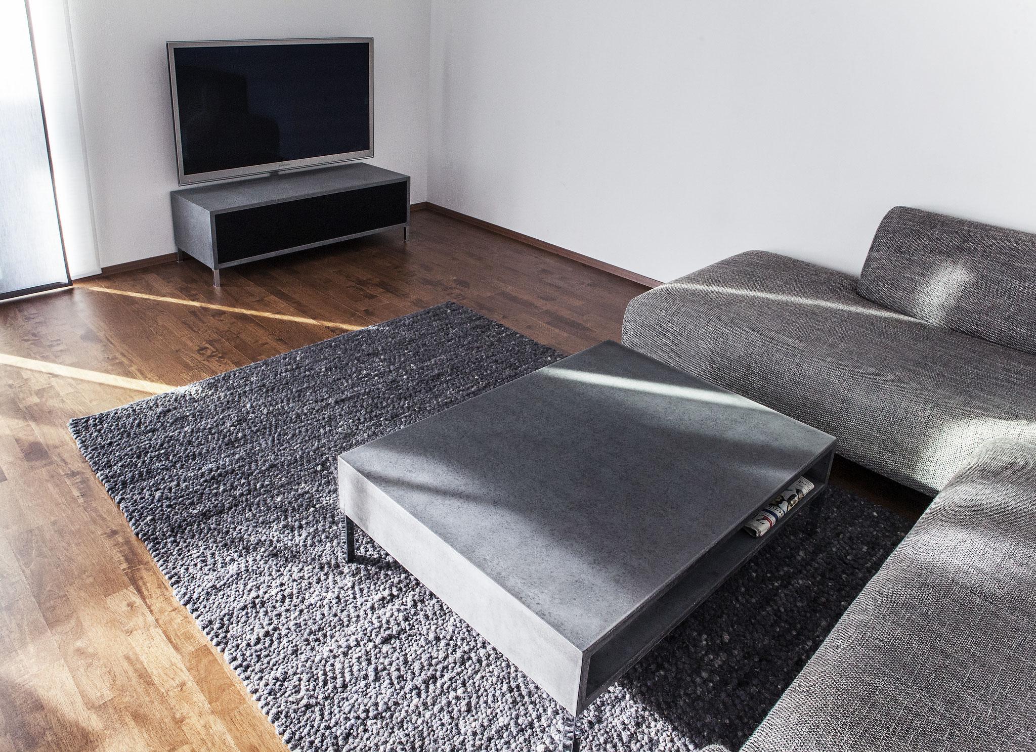 Beton Couchtisch + beton HiFi Möbel