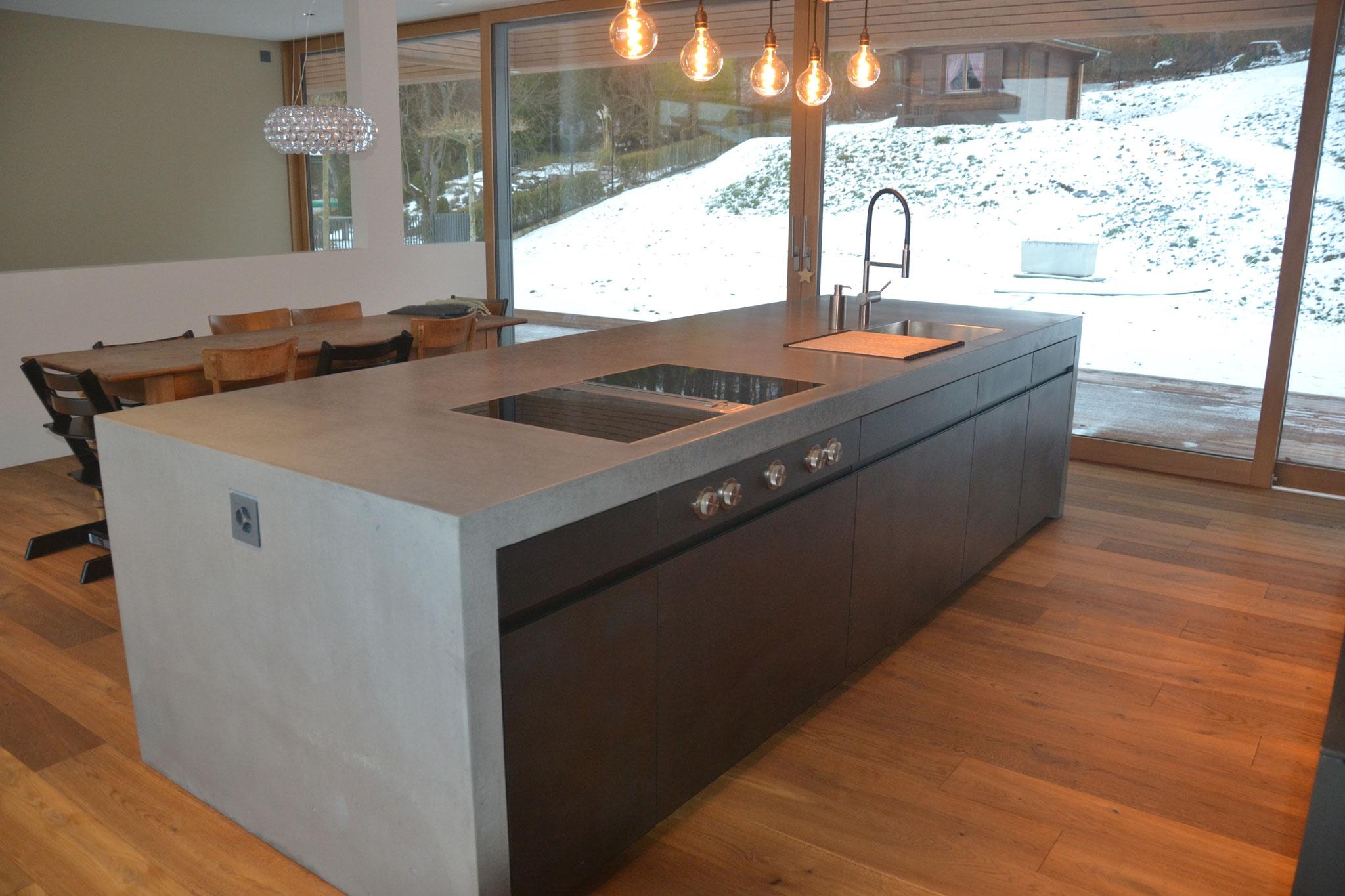 Küchenarbeitsplatten Beton kücheninseln aus beton nonnast raum beton design