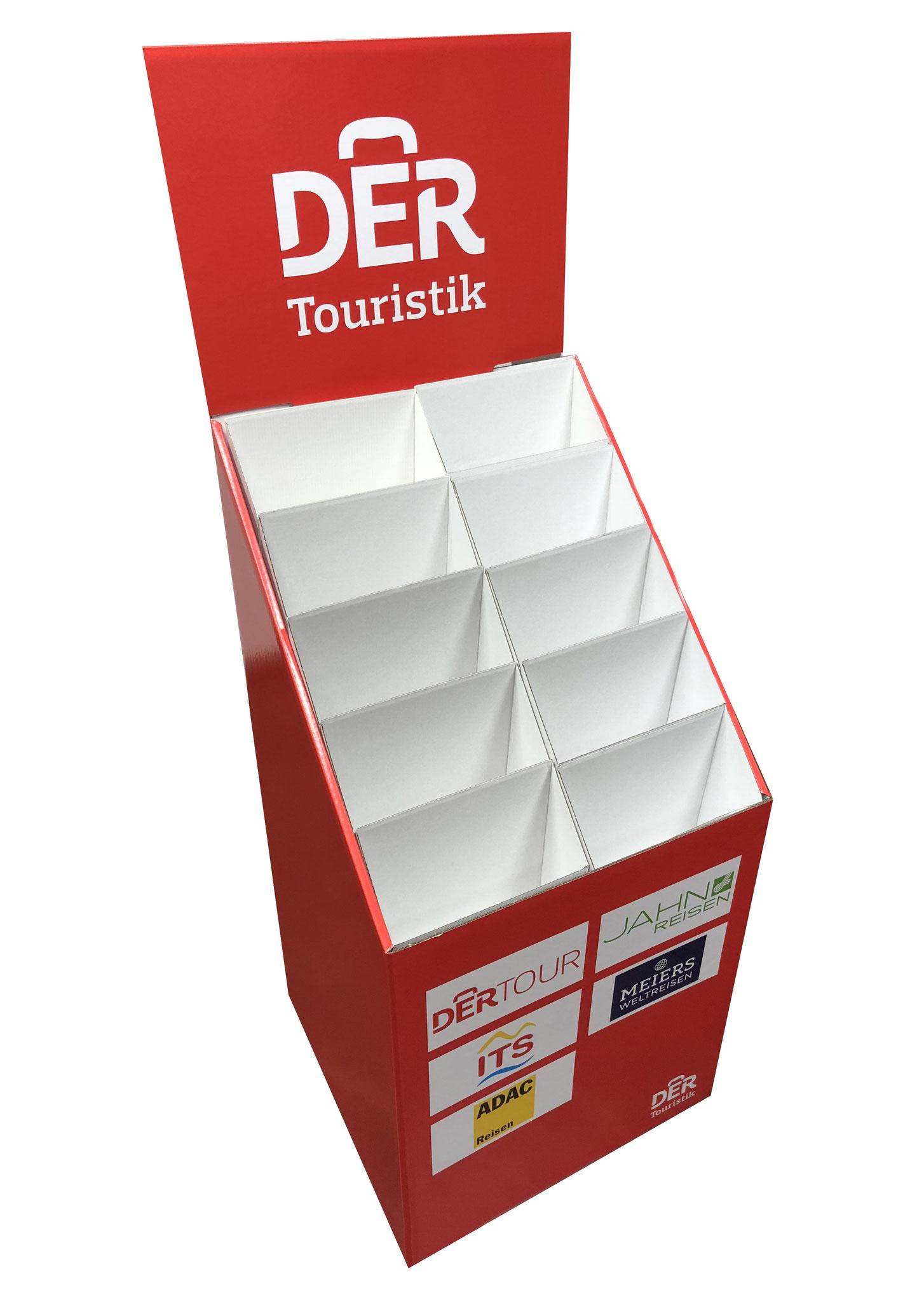 """Bodendispenser """"DER Touristik"""". Display für Broschüren und Kataloge. Wellpappe bedruckt"""