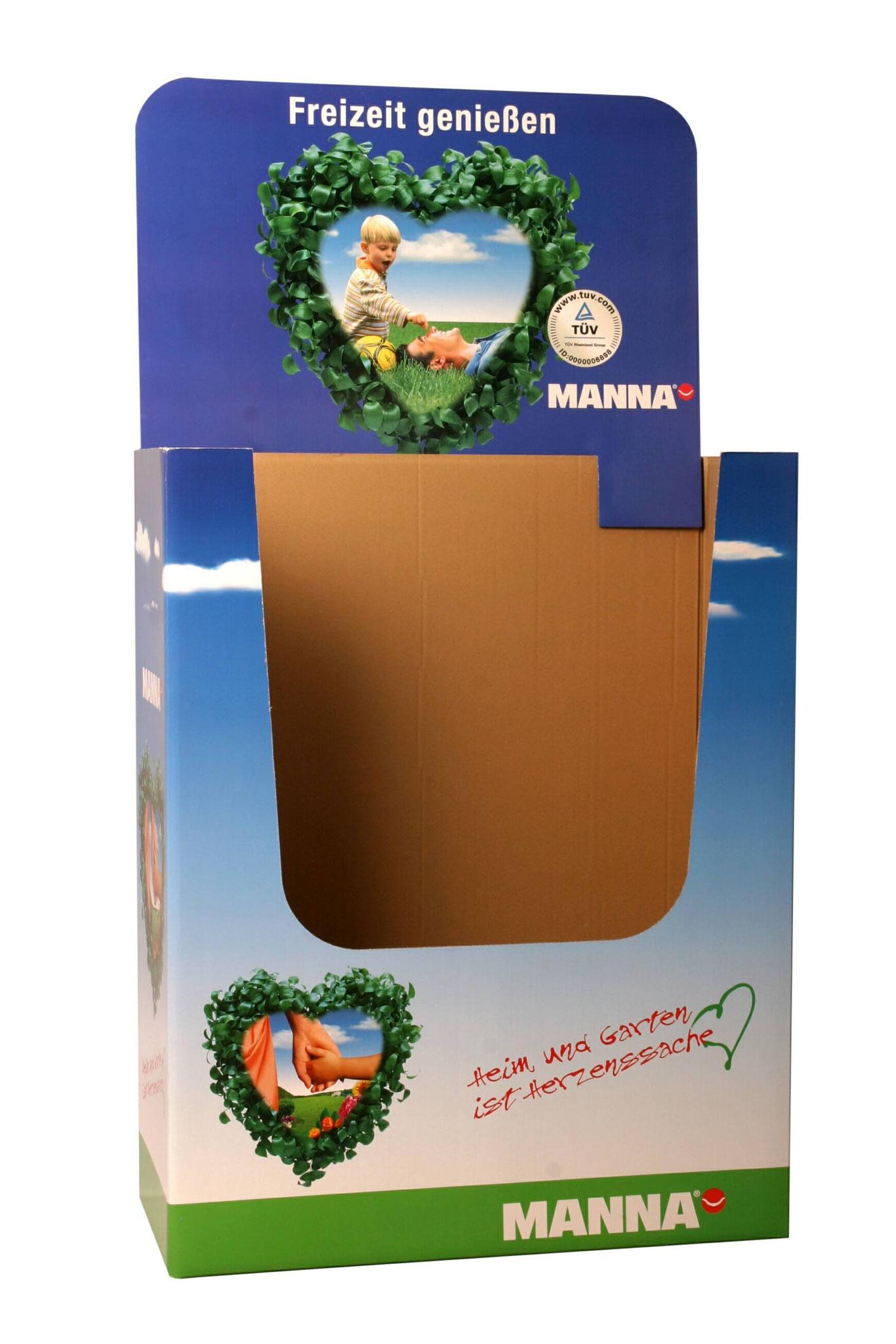 """Bodendisplay Palettenmantel """"Manna"""". Wellpappe bedruckt. Für Viertelpalette, halbe Palette oder Europalette"""
