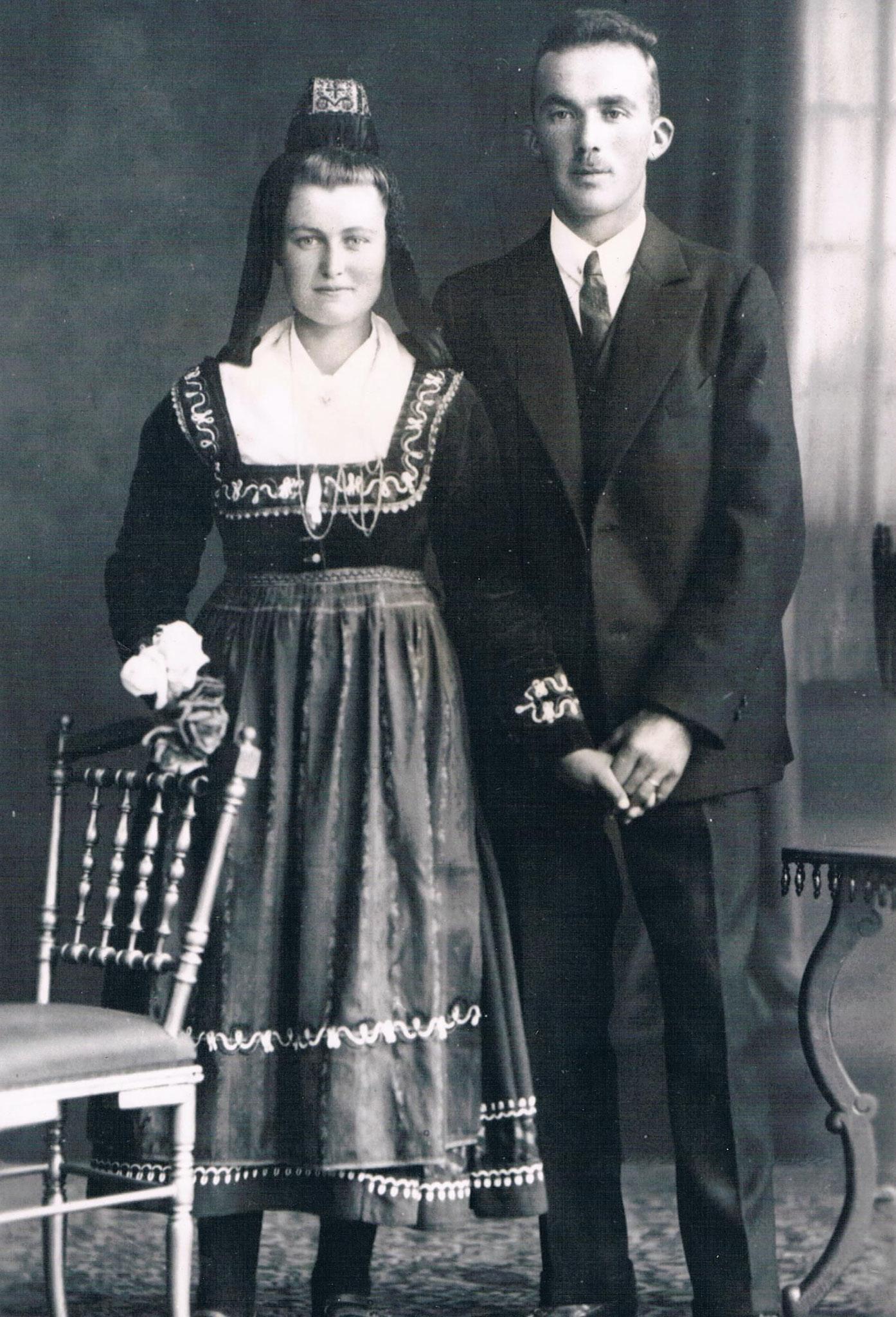Hochzeitspaar Wilhelm und Katharina Roth, geb. Henkel