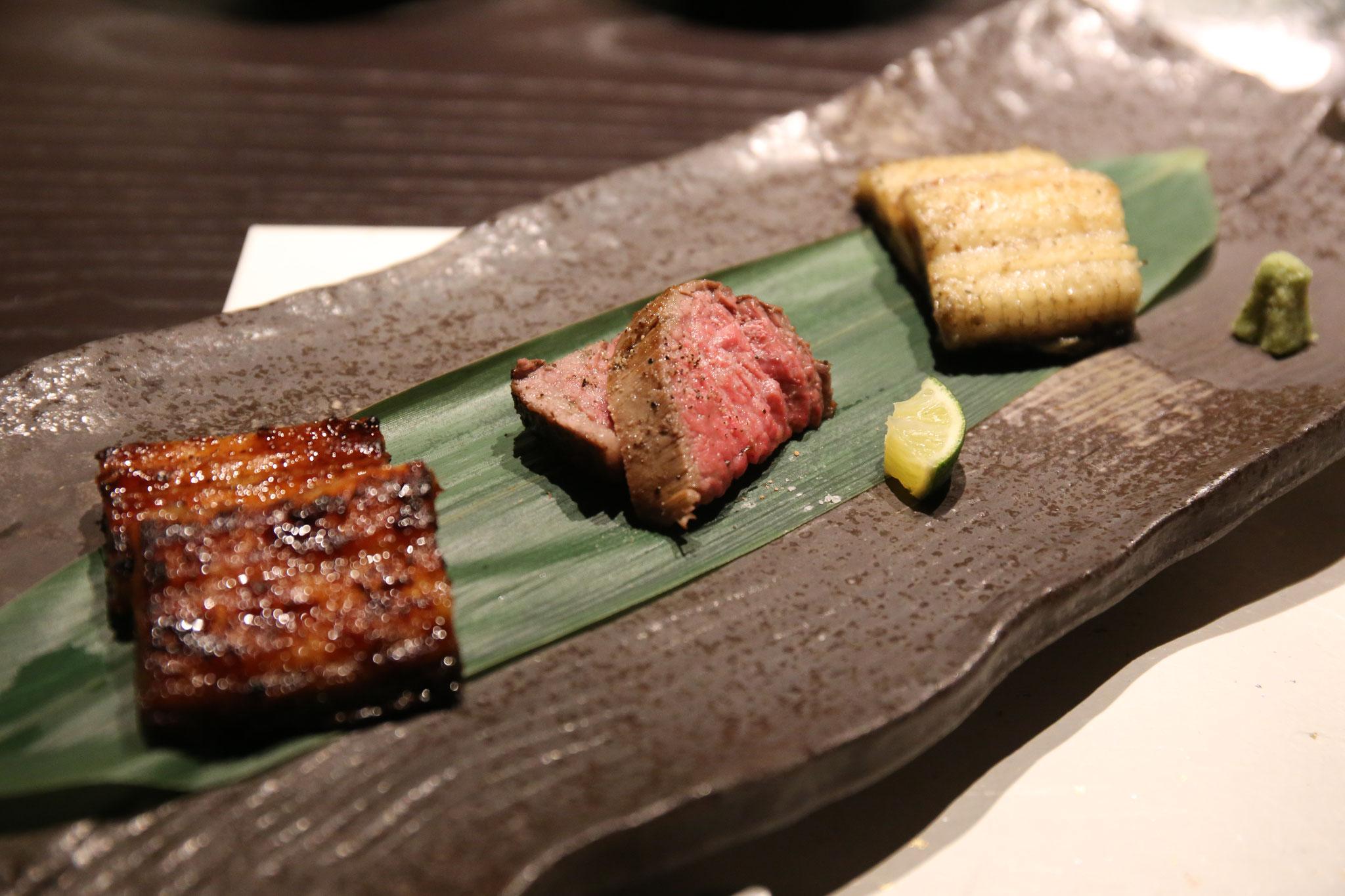 台のもの|鰻の共だれ焼き・鰻の白焼き・ローストビーフ