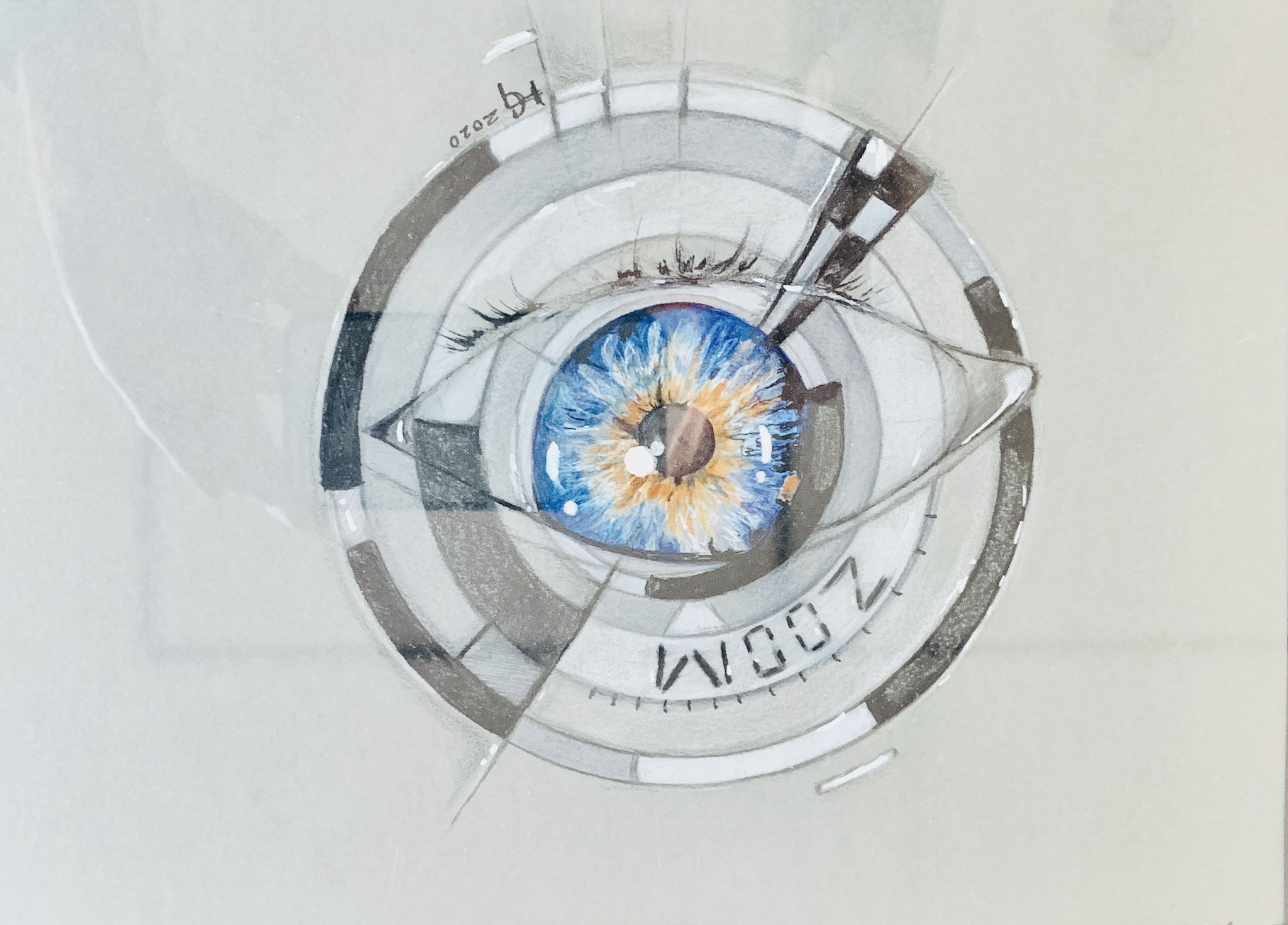 62. Heike Geck, ZOOMBLICK, Künstlerbuntstifte und Stabilo-Pen, 2020