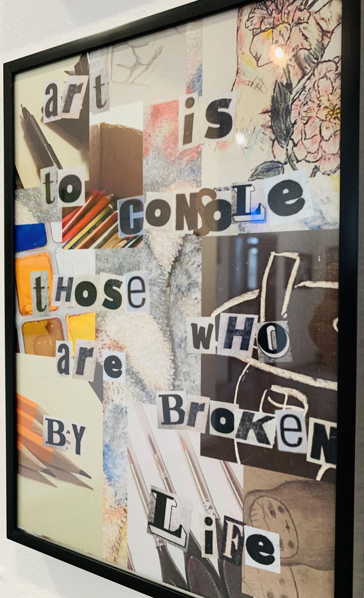 20. Vanessa Dillinger (Augustinerschule, 11. Klasse), ohne Titel, Collage mit Zitat von Van Gogh