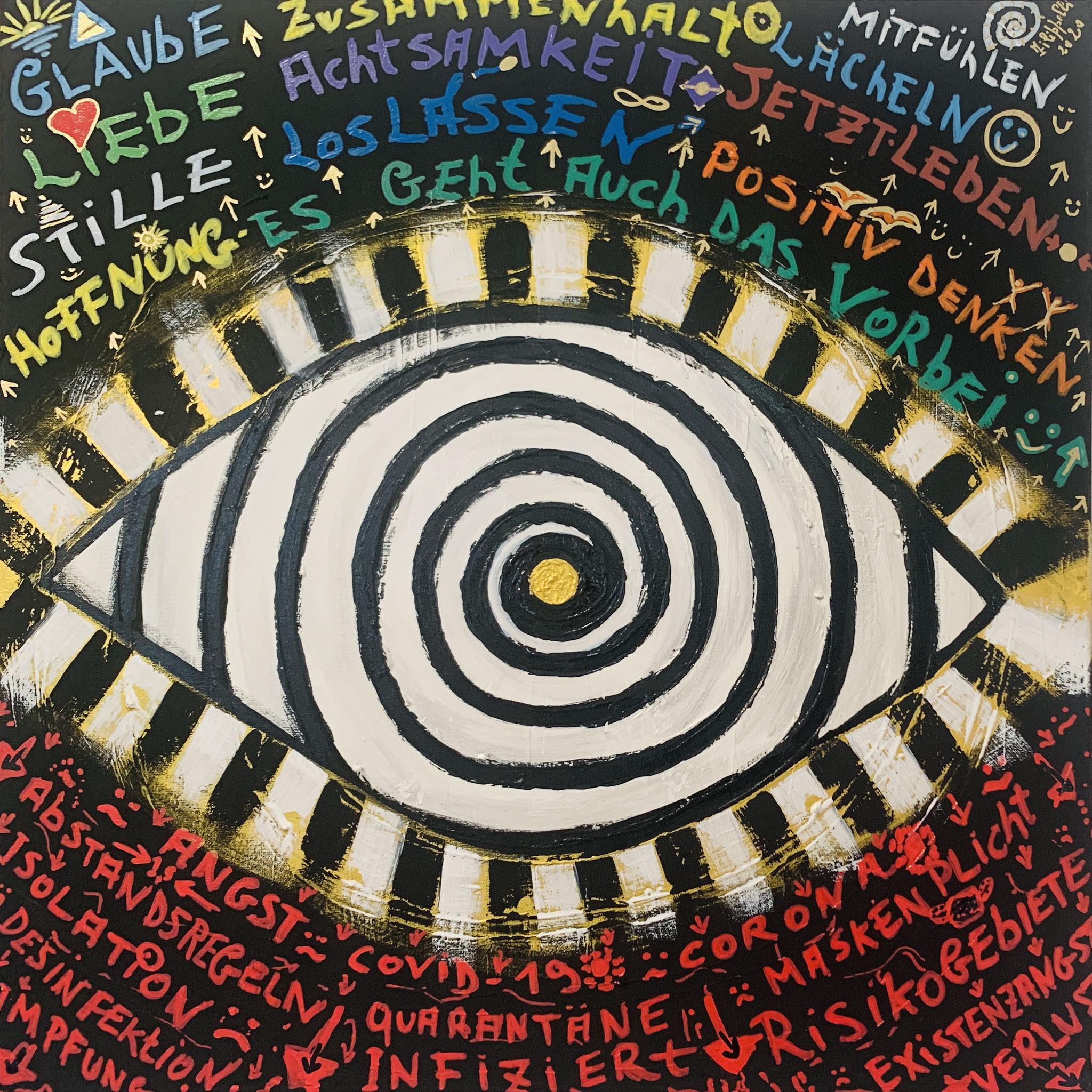 56. Ernesto Filipelli, Wo Fokussierst Du Deinen ZOOM, Acryl / Ölmarker auf Leinwand, 700 x 700 mm, nicht zu verkaufen