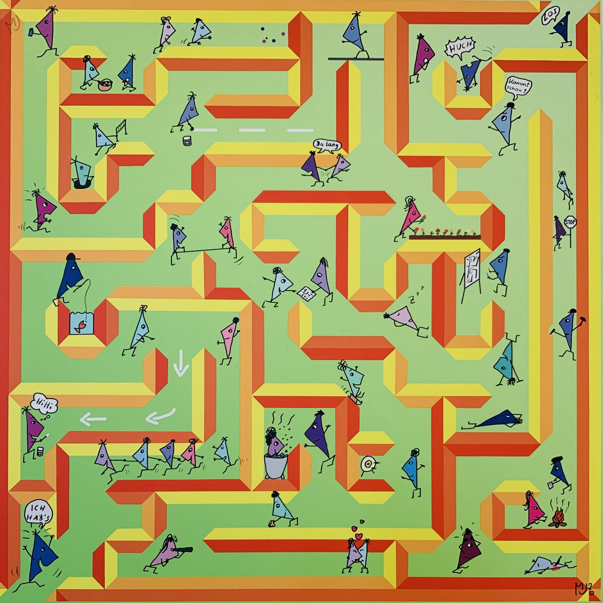 11. Monika Urbainczyk, Die Dreieck Bande im Labyrinth, digital mit einem Grafik Tablet gezeichnet und auf 40x40 cm2 Alu-Dibond gedruckt, 2020, 120 EUR