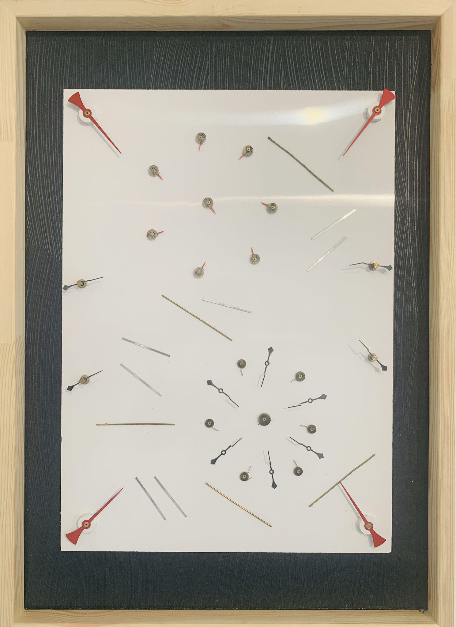 """58. Ryszard Reslinski (in Zusammenarbeit mit R. Alder), """"factory-art"""", Out of time, Collage aus Zeigern und Spiralen, 2020"""