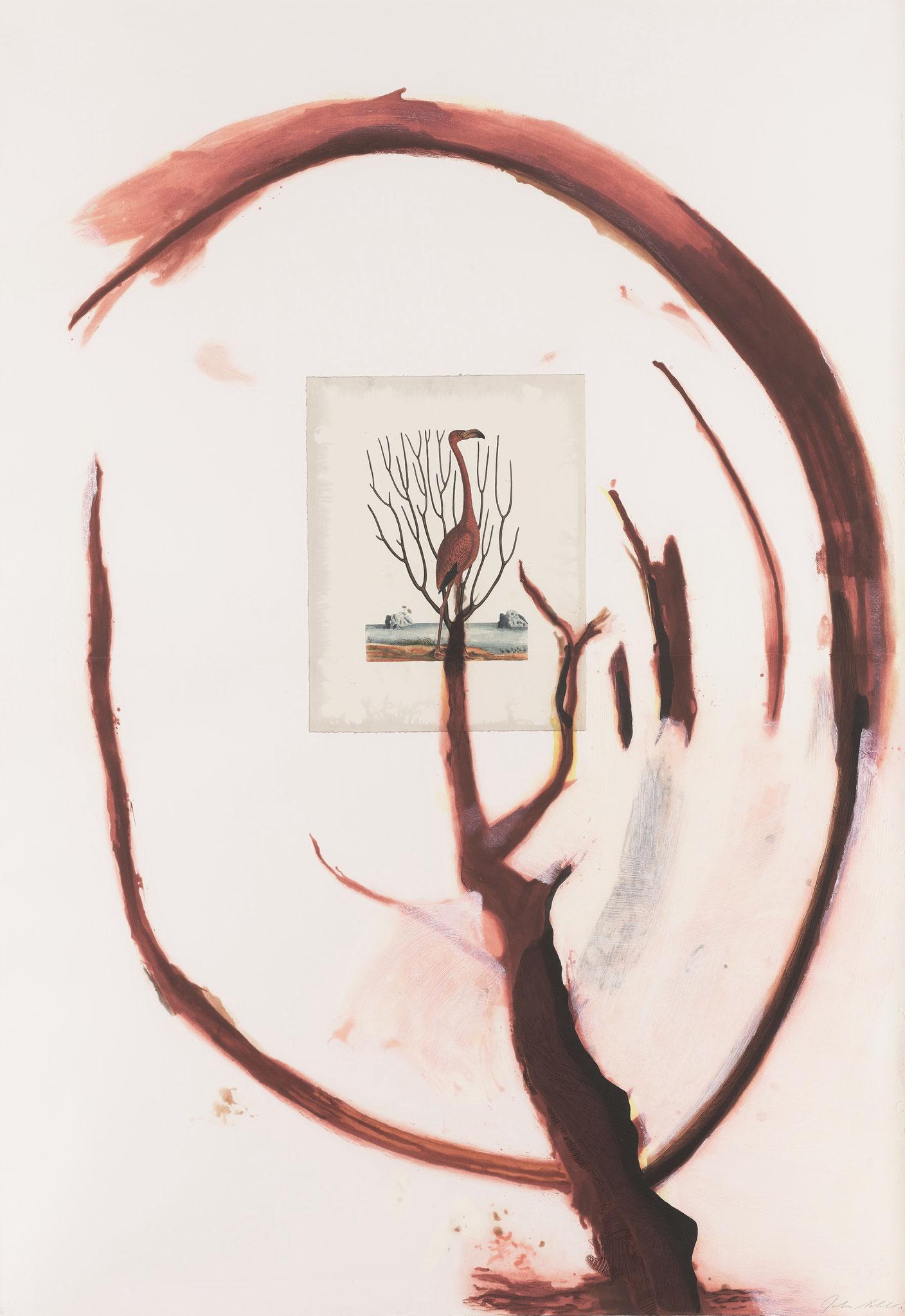 Flamingo I, 1991, Aquatinta-Radierung auf Collage und Hadernpapier gedruckt, Format: 137.2 x 198.1 cm, Auflage: 48 + AP, signiert und nummeriert