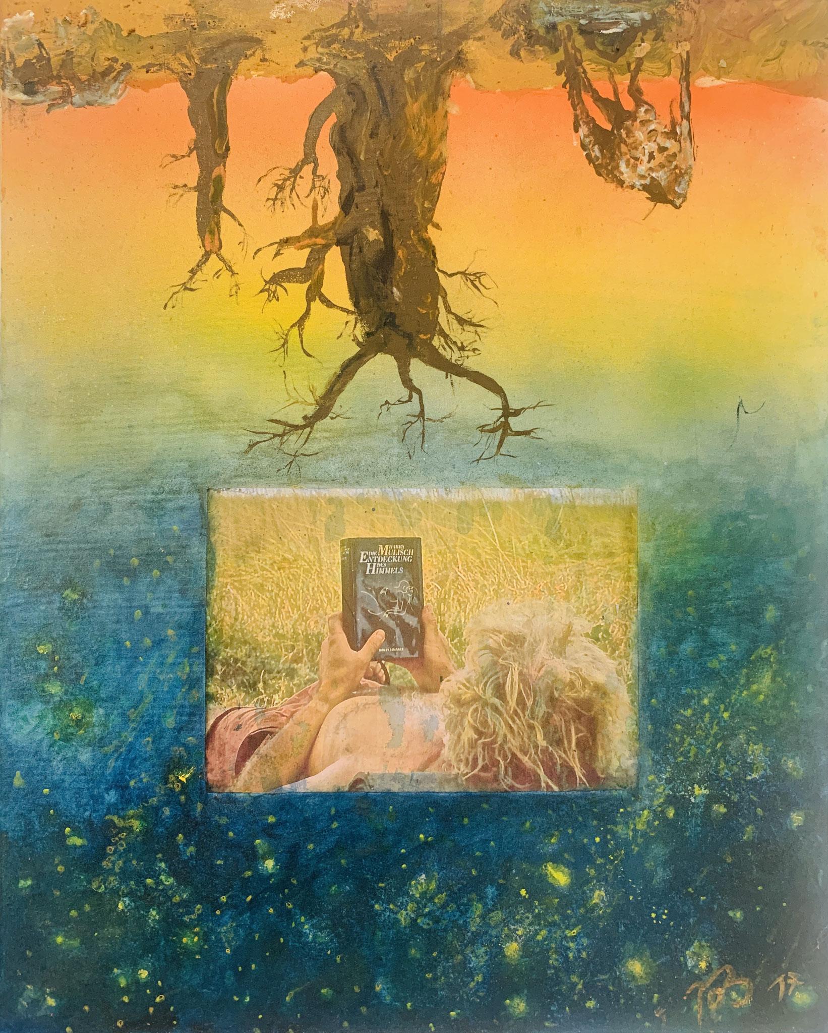 43. Reimund O. Boderke, Entdeckung des Himmels oder Selbst im Wüstenhimmel, Collage mit Foto, Spray und Ölfarbe, 800 x 1000 mm, 2017, 2.200 €
