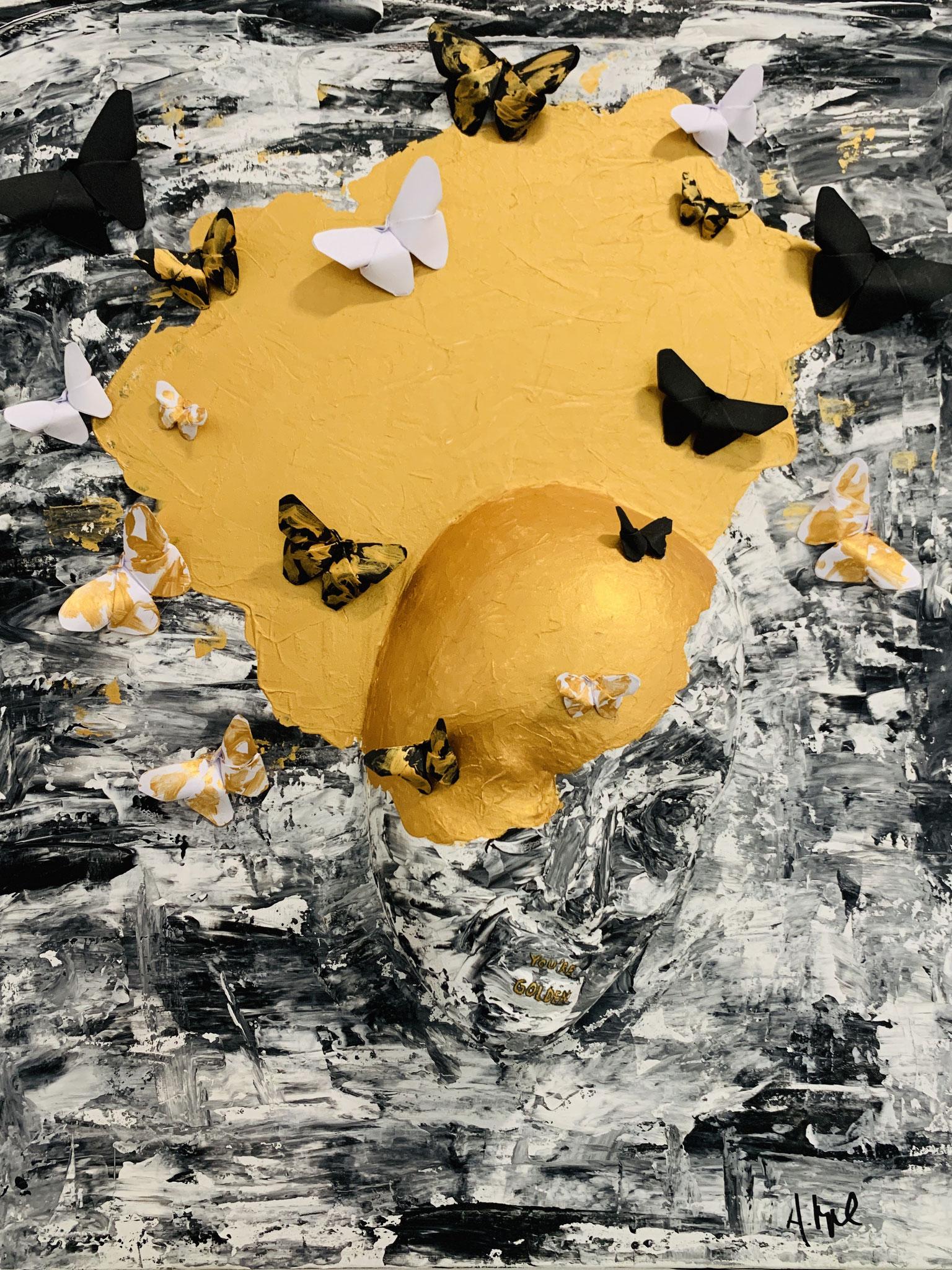 Anna Happel (Augustinerschule, 9. Klasse), YOU ARE GOLDEN, Zeitungspapier / Kleister / Styropor / Acrylfarbe auf Leinwand / Falttechnik, 2020
