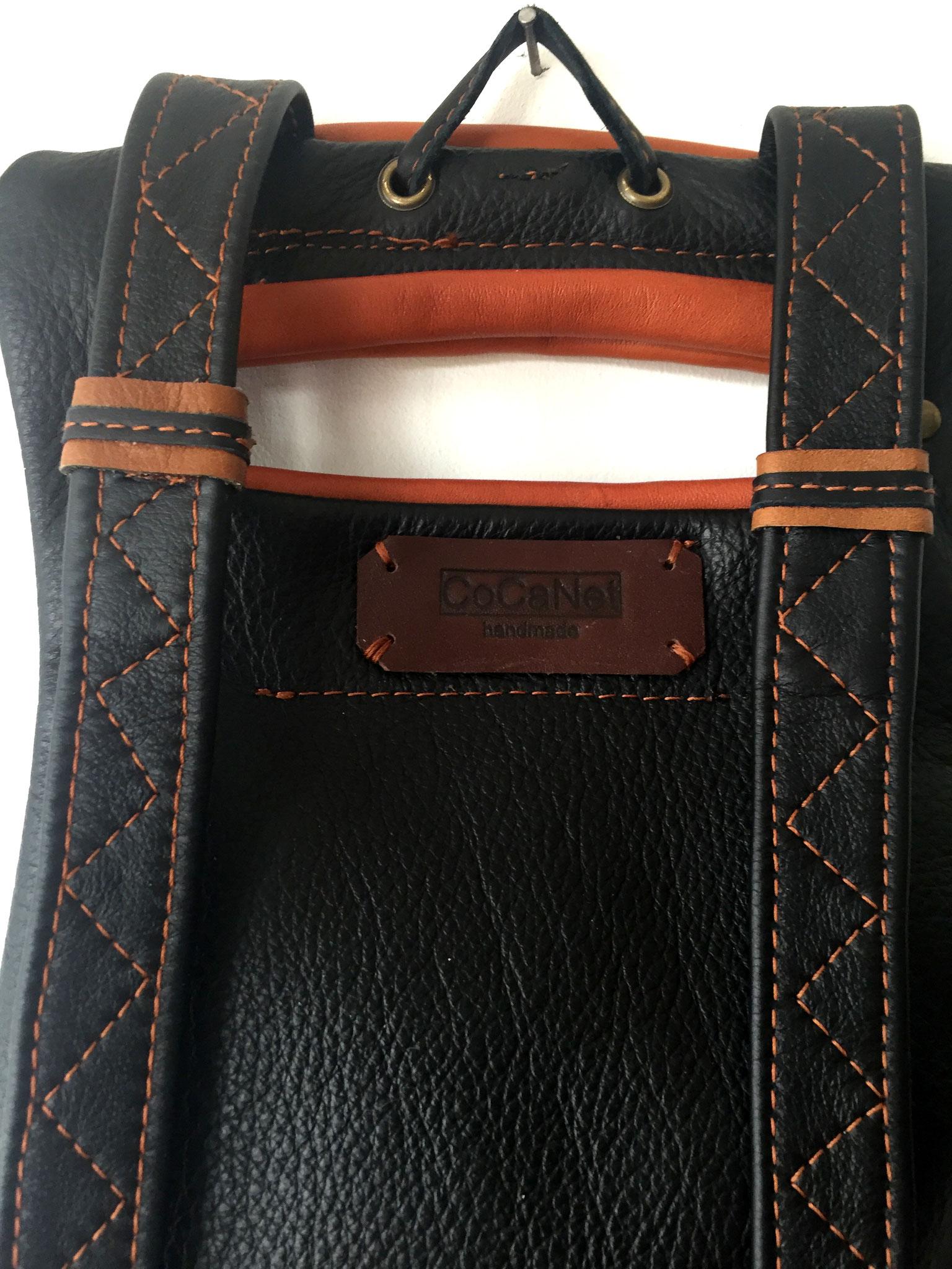 Lederrucksack schwarz braun