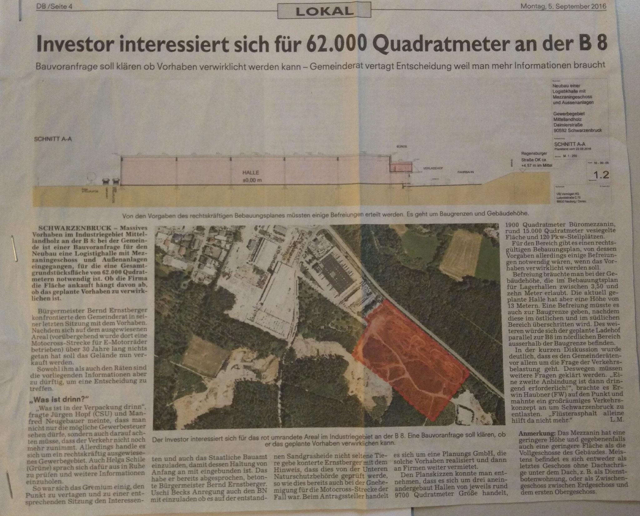 Aus dem Boten vom 05.09.2016 - Investor interessiert sich für 62.000 Quadratmeter