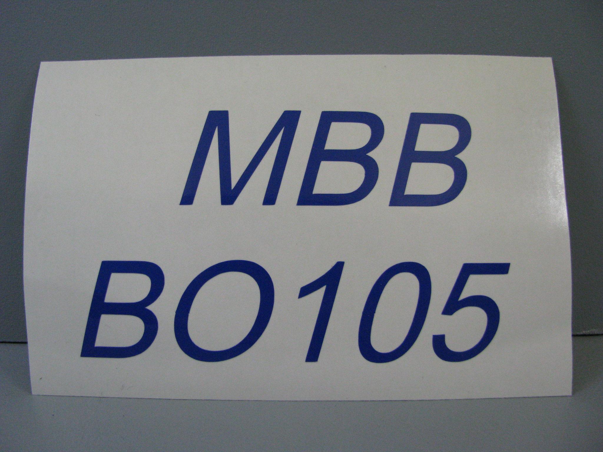 M311: MBB BO105, kursiv, unten angeordnet, z.B. 105x62mm