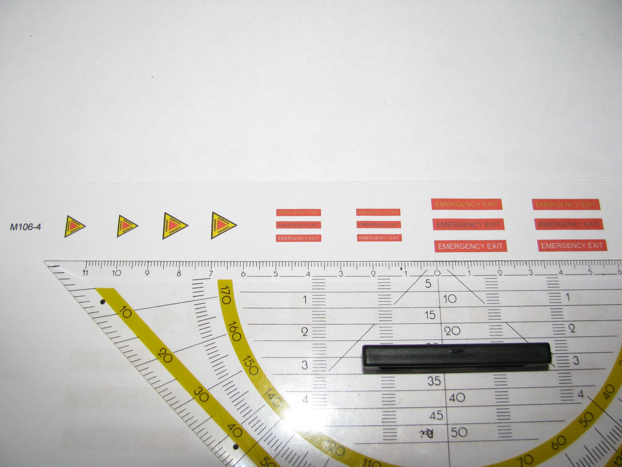 M106-4: Emergency Exit & Achtung Triebwerk. 16 Decals. Max 25x4mm