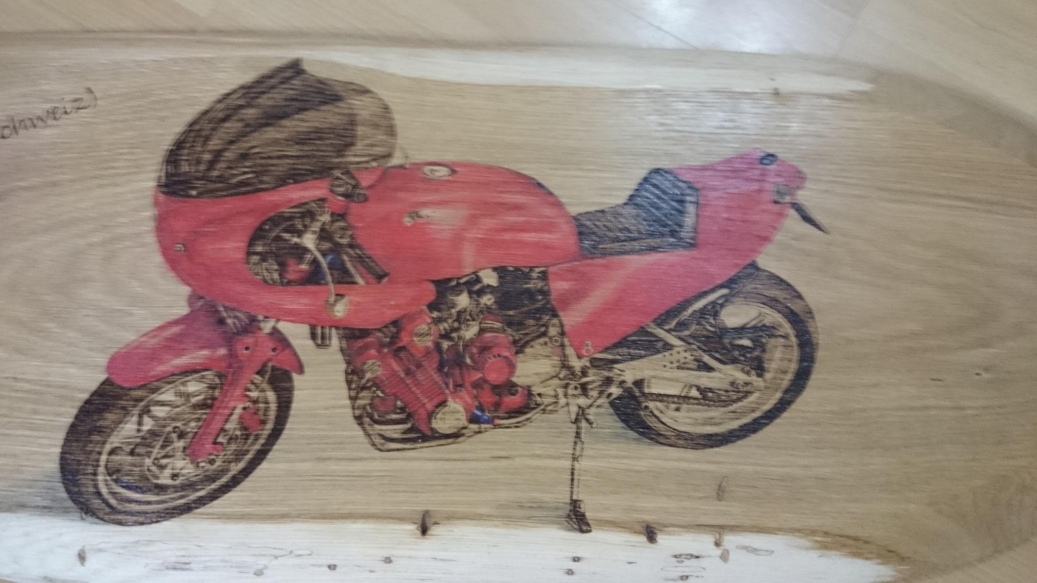 Motorrad EGLI Brandmalerei 1a-handarbeit Portrait Holz