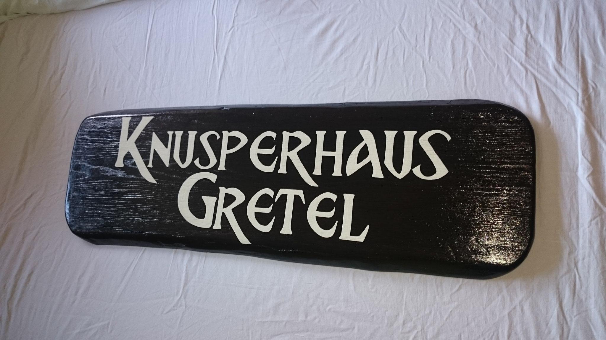 Knusperhaus Gretel Schild Holz