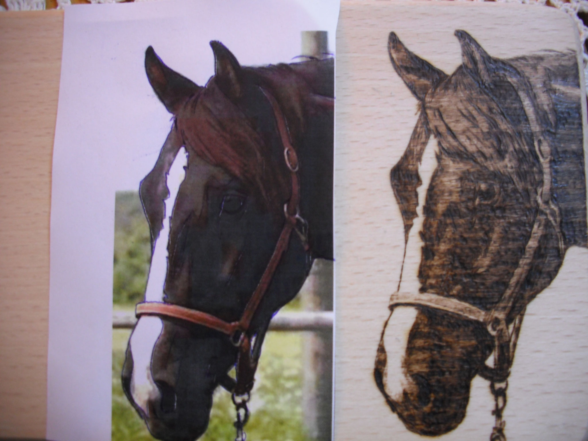 Brandmalerei Portrait Holz Boxenschild