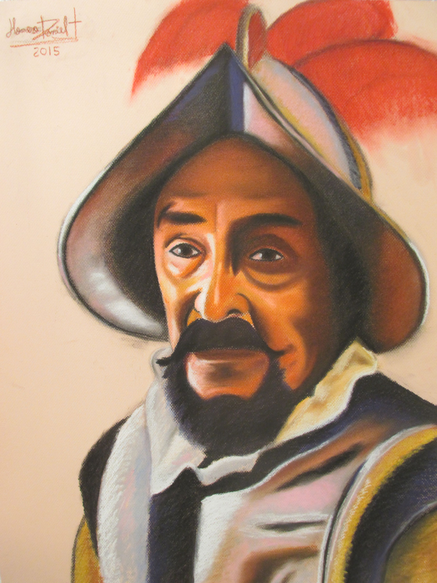 "Soft Pastel on Paper. ""Juan Ponce de Leon"" 50 x 65 centimeters."