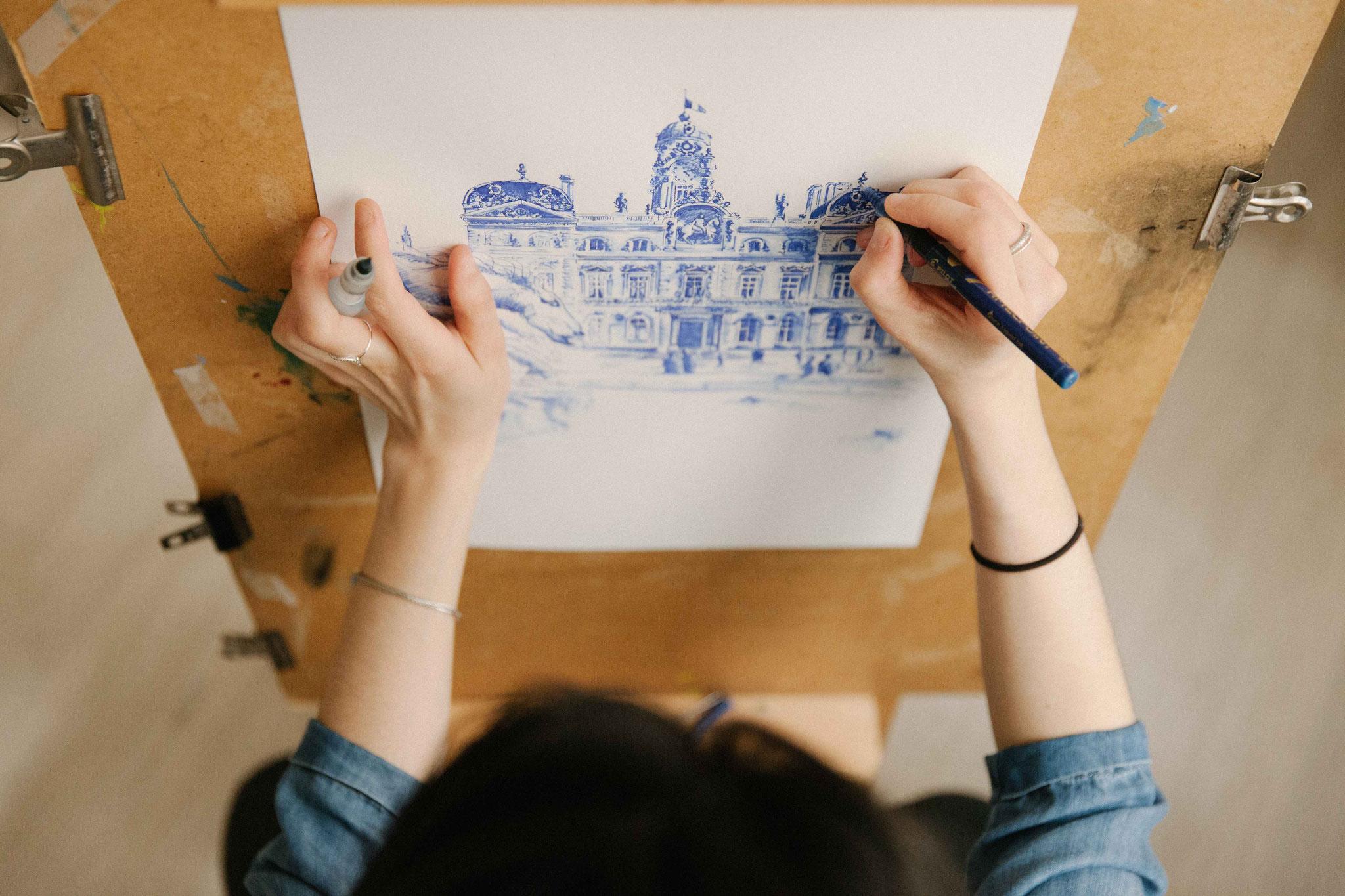 06.  Dessin de ville - Audrey Apruzzese - Dessinatrice Lyonnaise - Hôtel de ville de Lyon