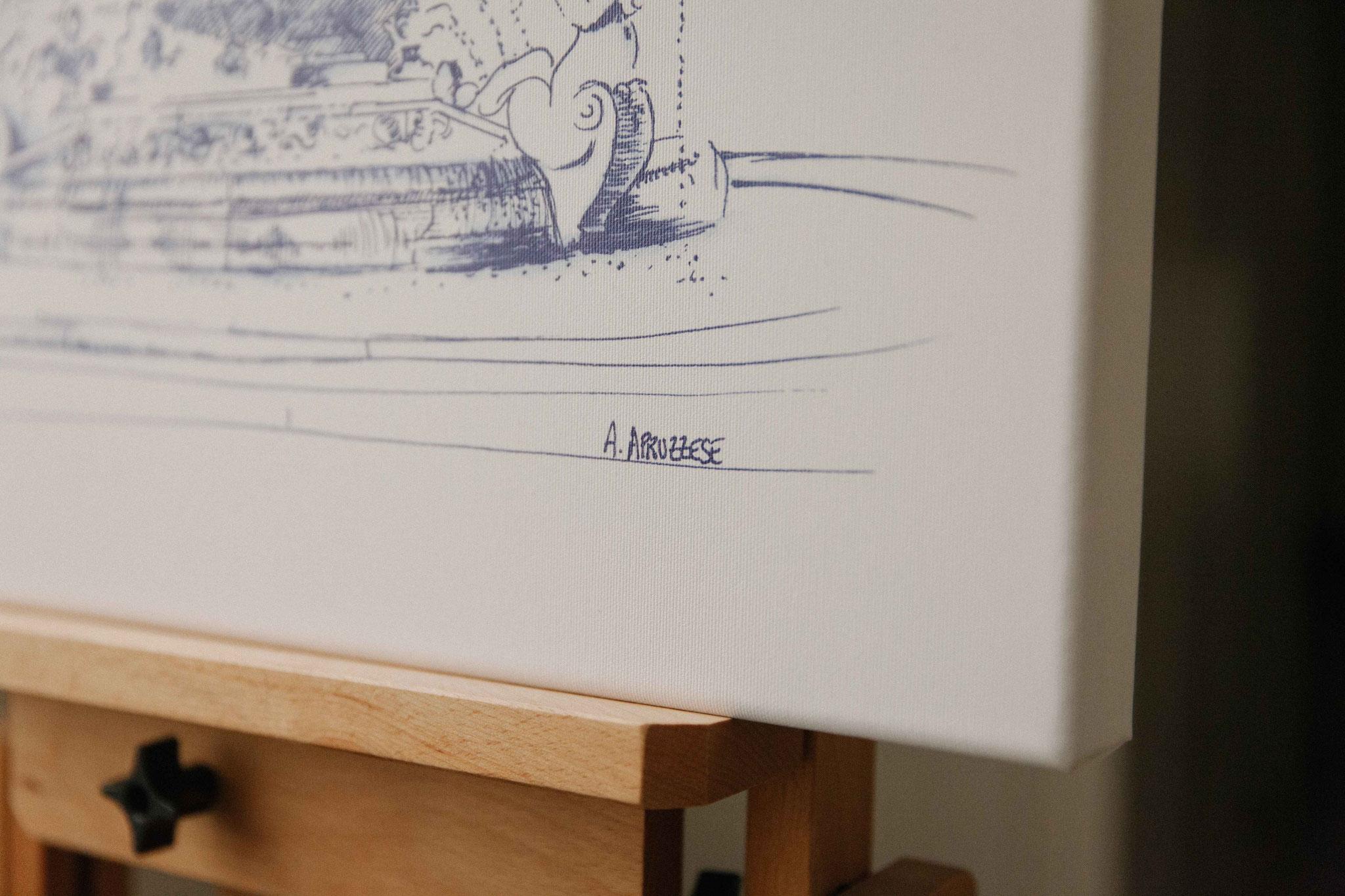 19. Dessin de ville - Audrey Apruzzese - Dessinatrice Lyonnaise - Chassis sur toile