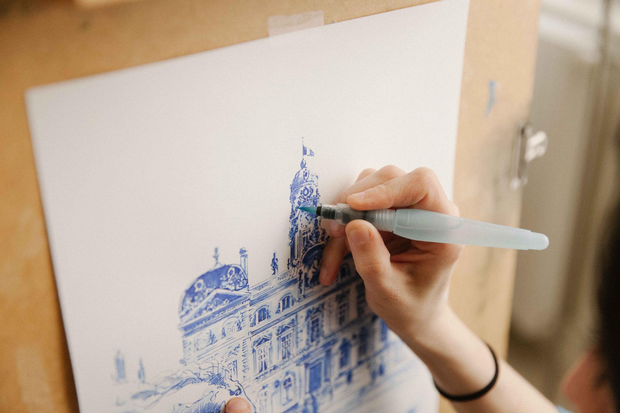 07.  Dessin de ville - Audrey Apruzzese - Dessinatrice Lyonnaise - Hôtel de ville de Lyon Place des Terreaux Patrimoine