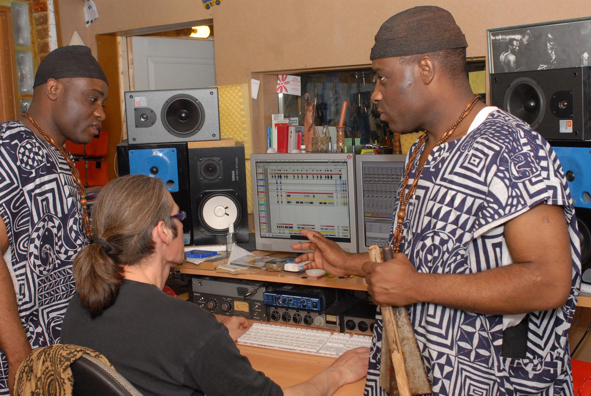 Les Jumeaux de MASAO (Masao Masu) in studio with arranger  Phil Robert For the album  Mukeng
