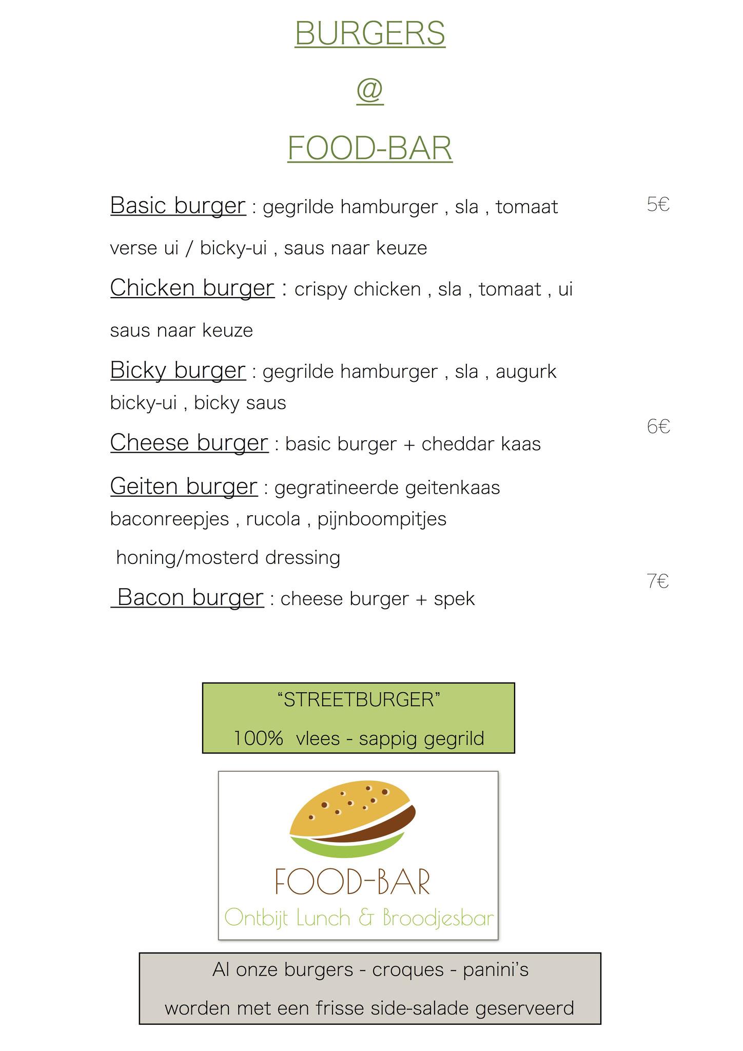 Menu welkom food bar for Food bar brecht