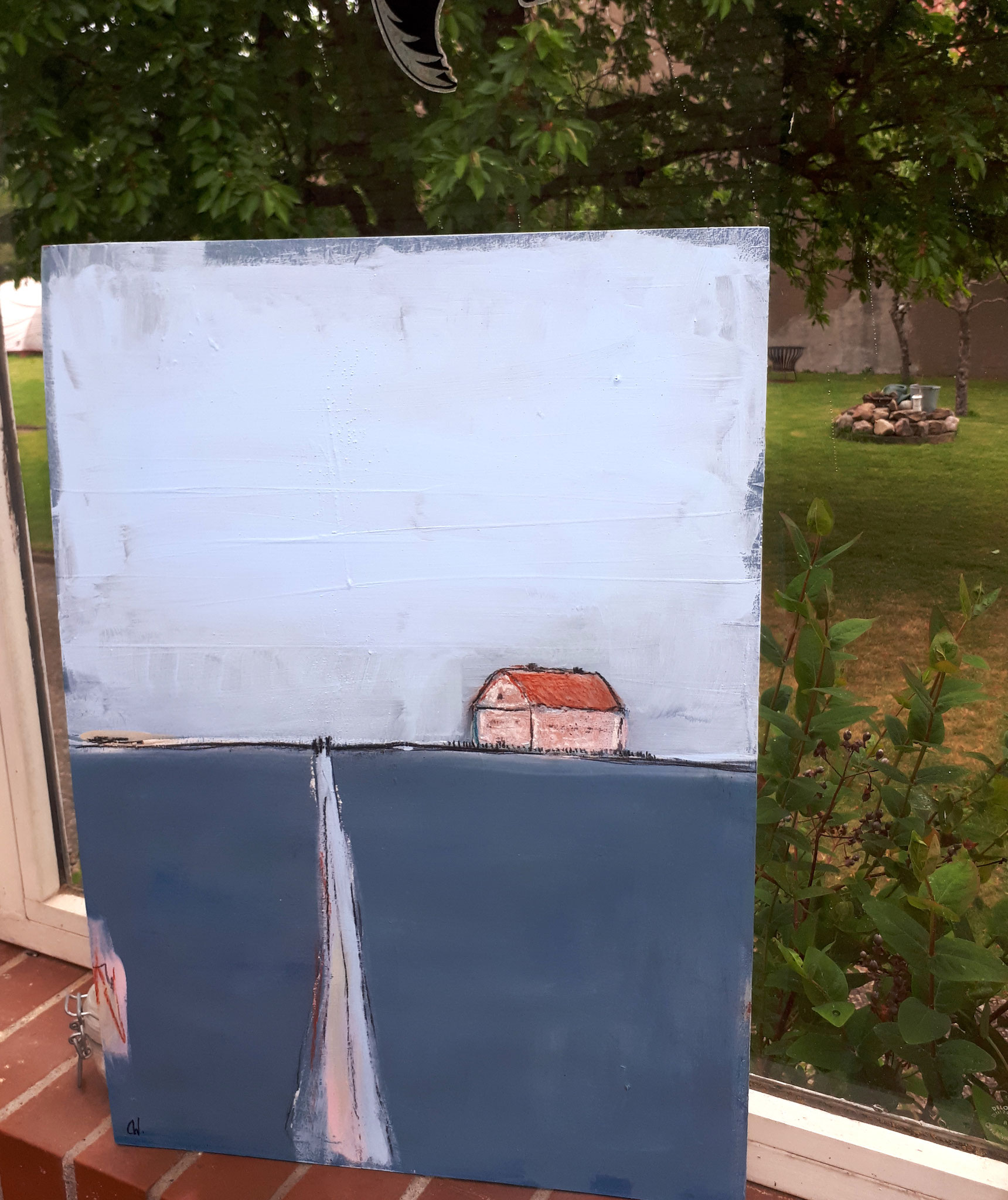 Landschaft gemalt mit Haus und Weg