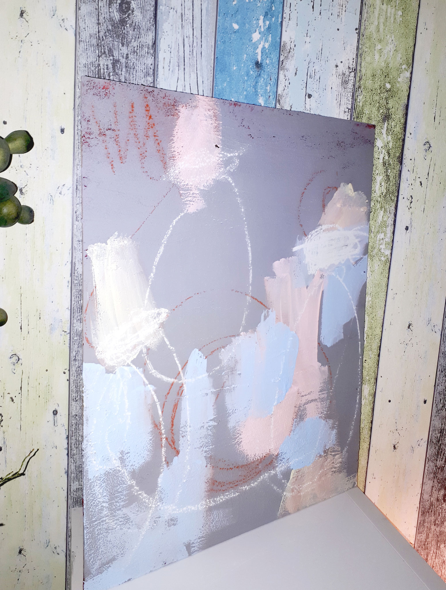 Familienkreis gemalt auf MDF für Bilderrahmen