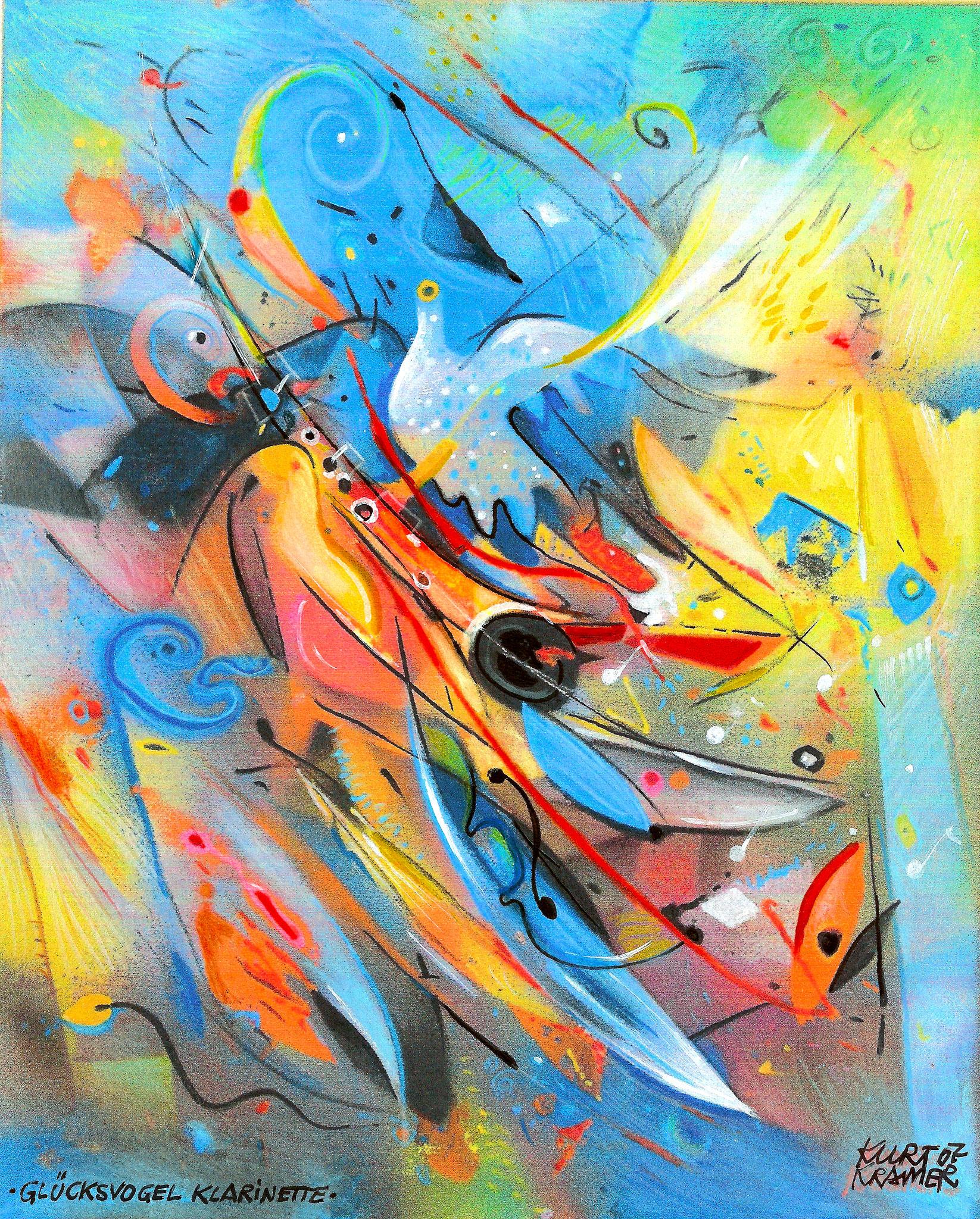 Glücksvogel Klarinette, 2007 (Mischtechnik)