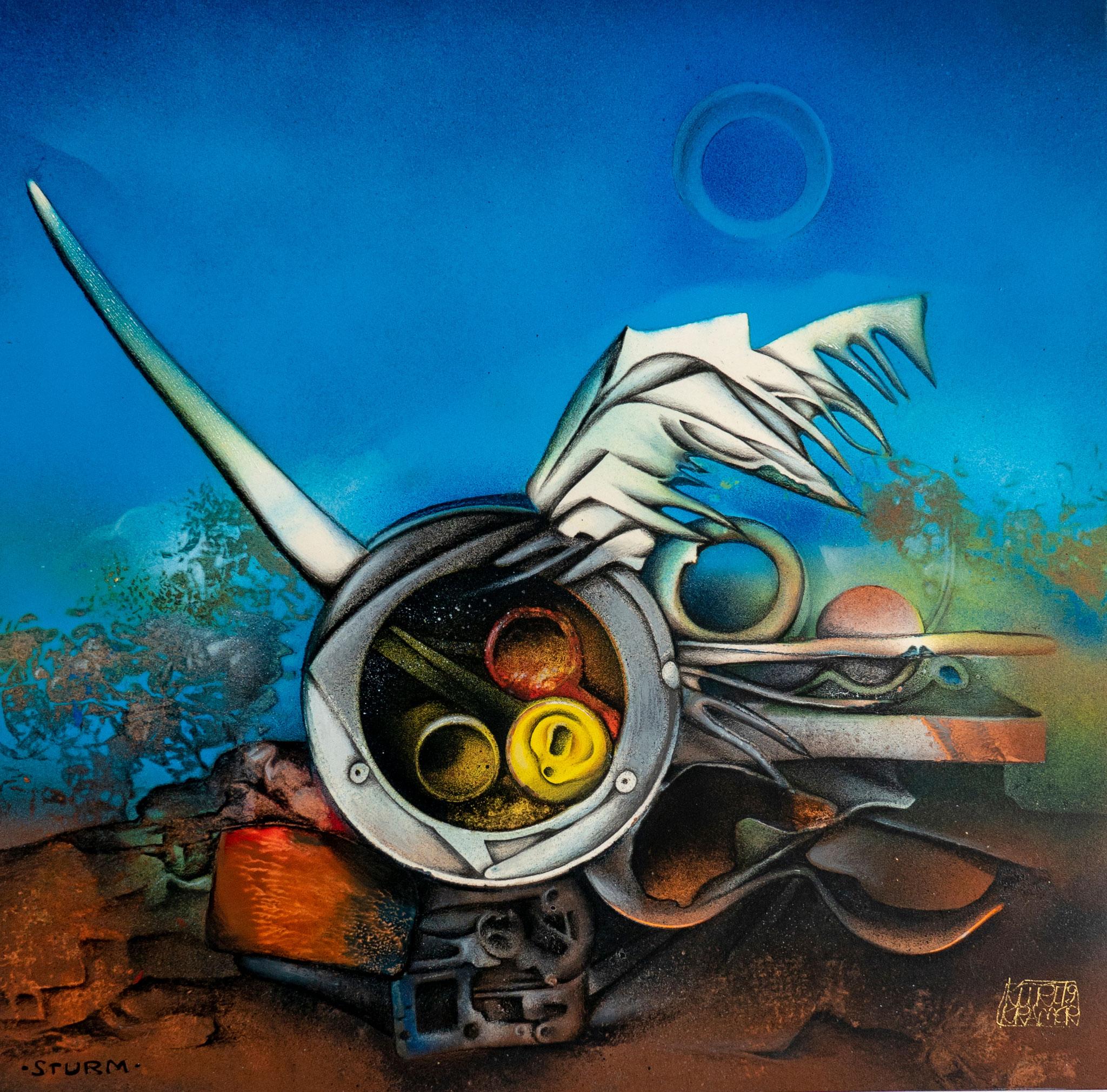 """Sturm, 1979 (Öl, 38x38cm); """"Vanitas""""-Zyklus"""