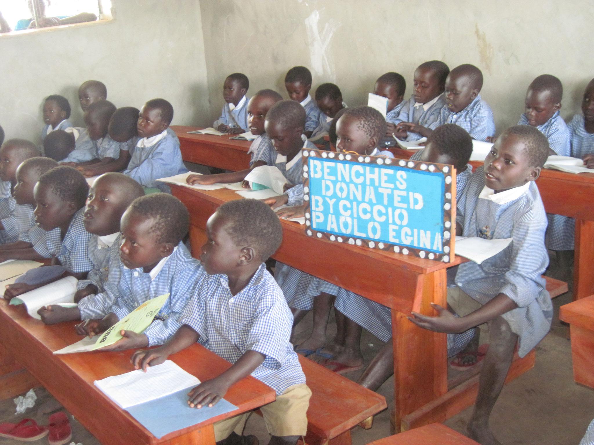 I nuovi banchi donati da un nostro benefattore di Linosa