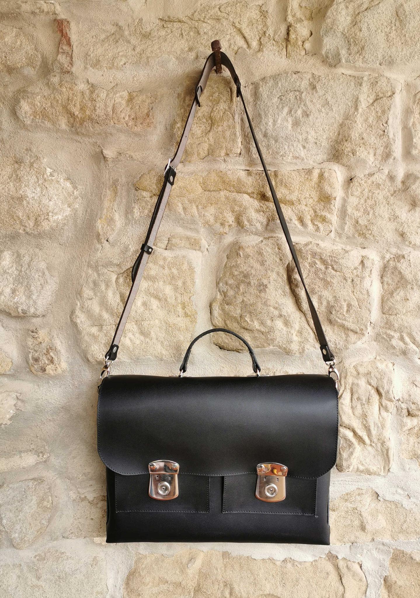 borsa da ufficio in pelle nera
