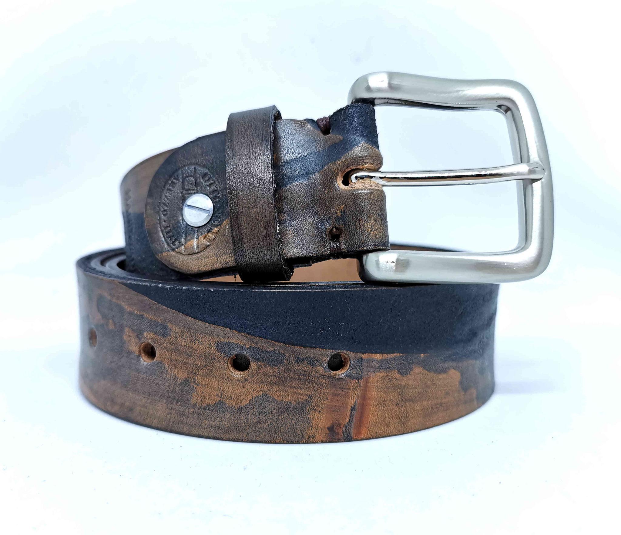 cintura in cuoio marrone grigio