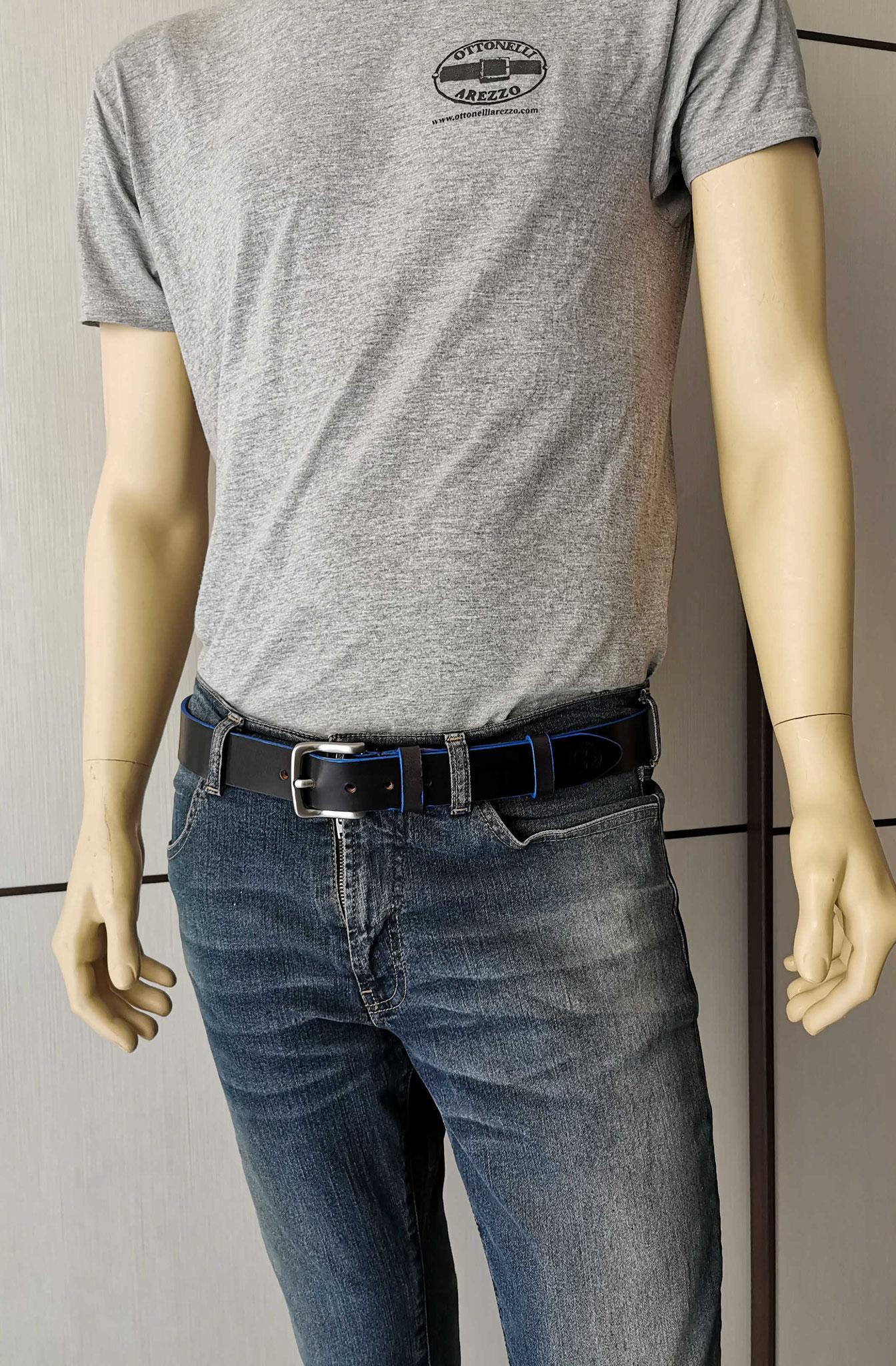 cintura in cuoio nero