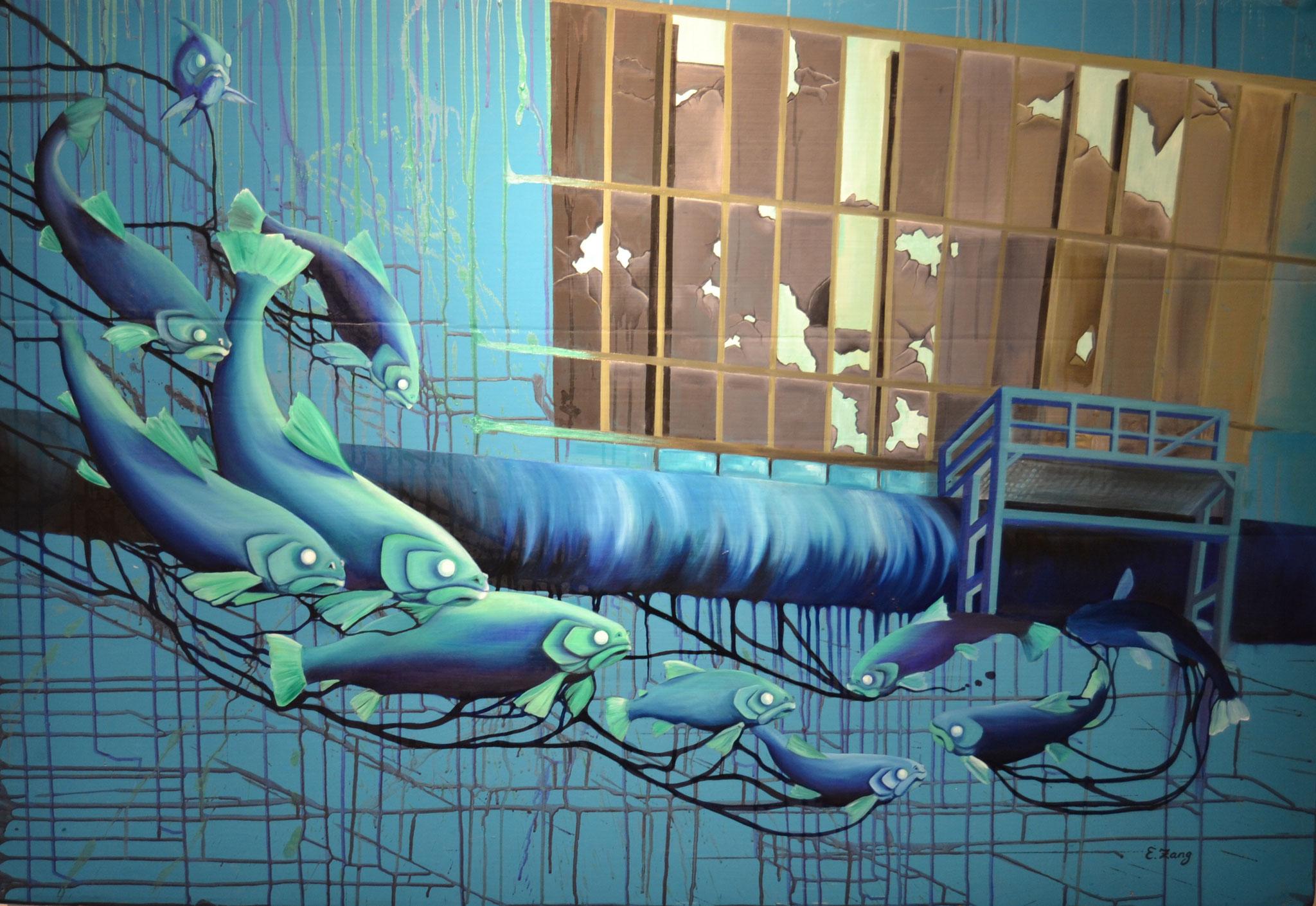 Floating Industry, Öl auf Recyclinggrund, 110x180 cm
