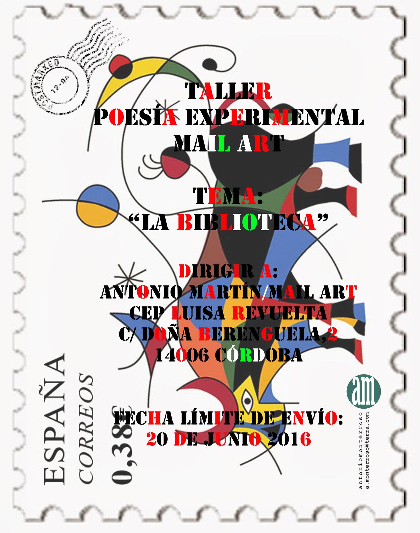 Cartel de la Convocatoria para las Jornadas de Biblioteca. Autor: Antonio Monterroso