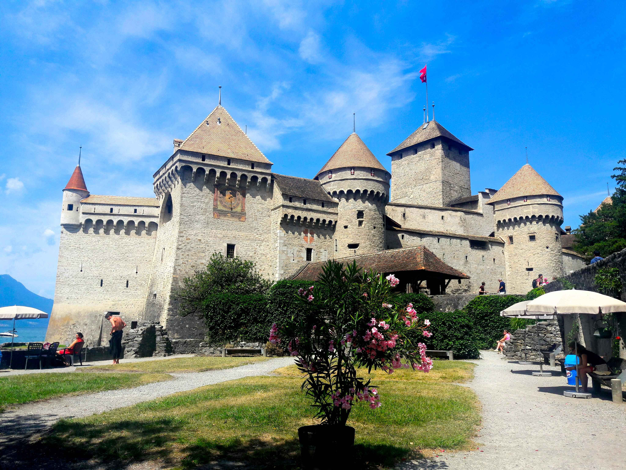 Château de chillon or the chill-on castle in Veytaux on Lake Geneva