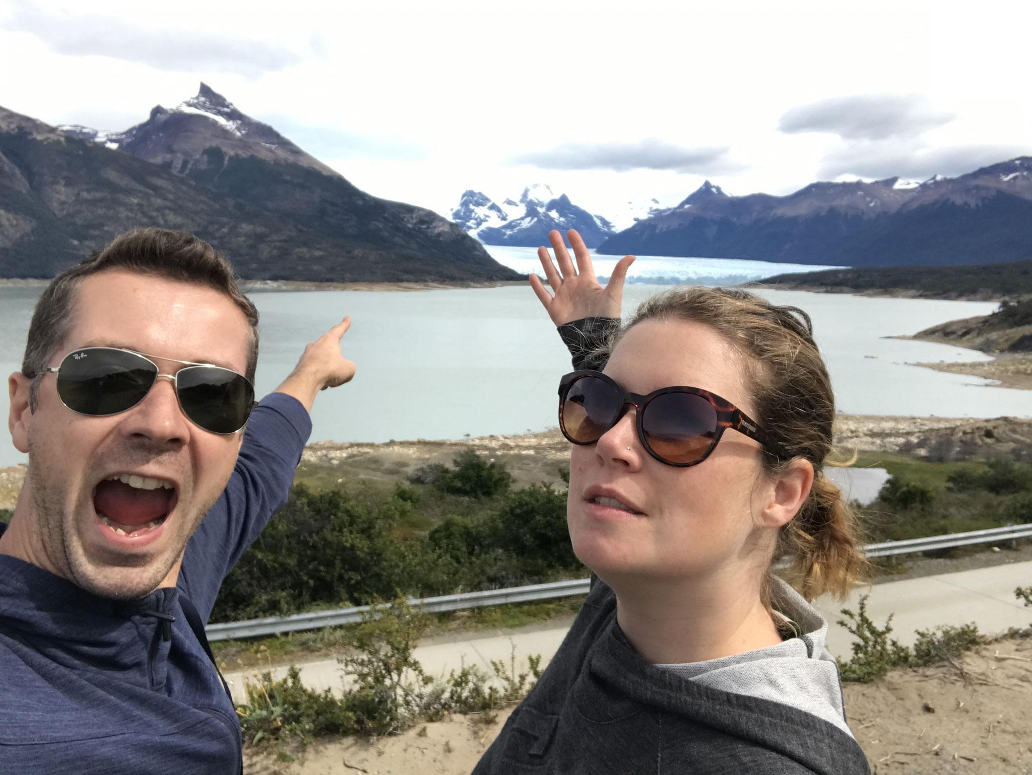 Erster Blick auf den Gletscher Perito Moreno