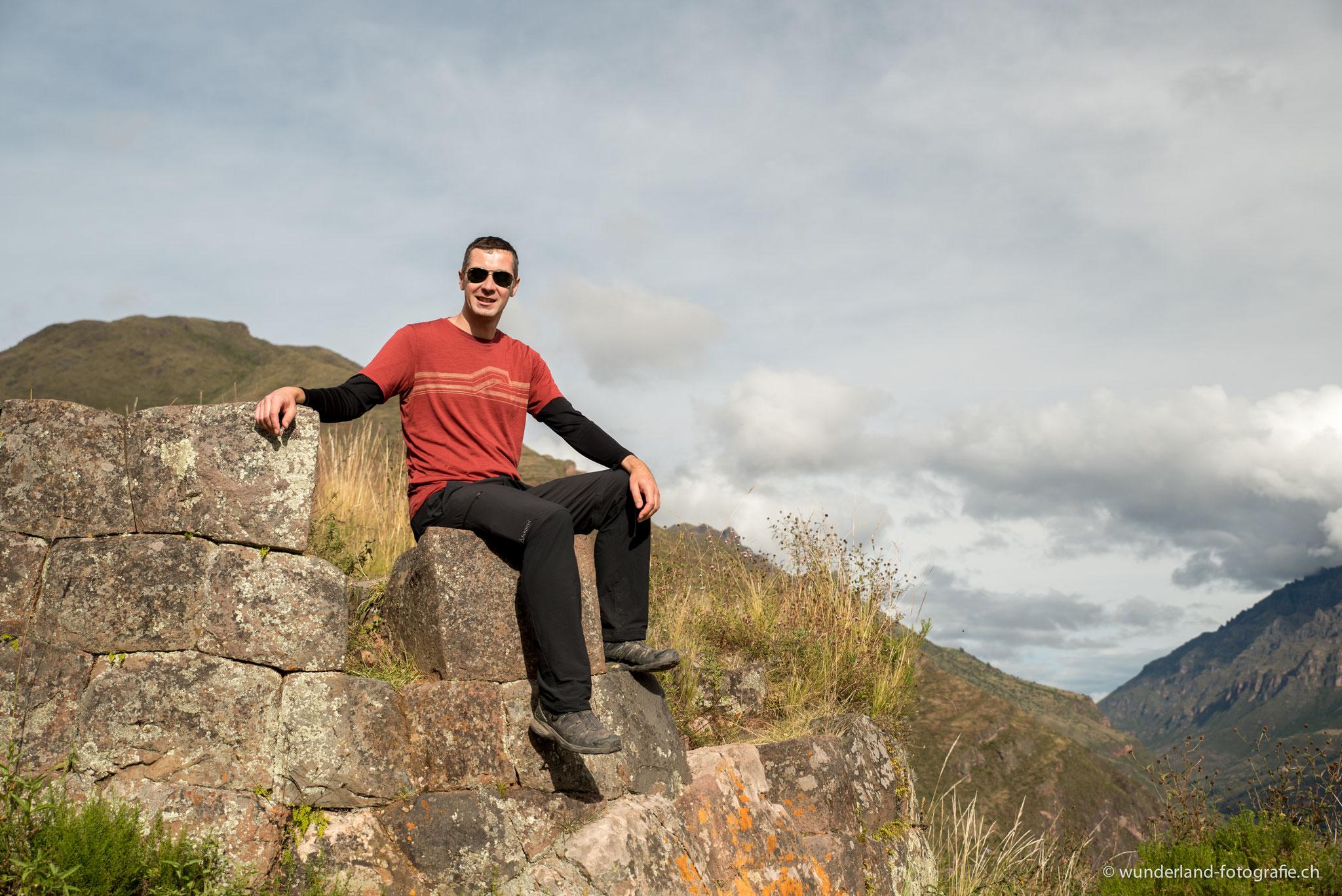 Jochen auf den Ruinen von Pisac