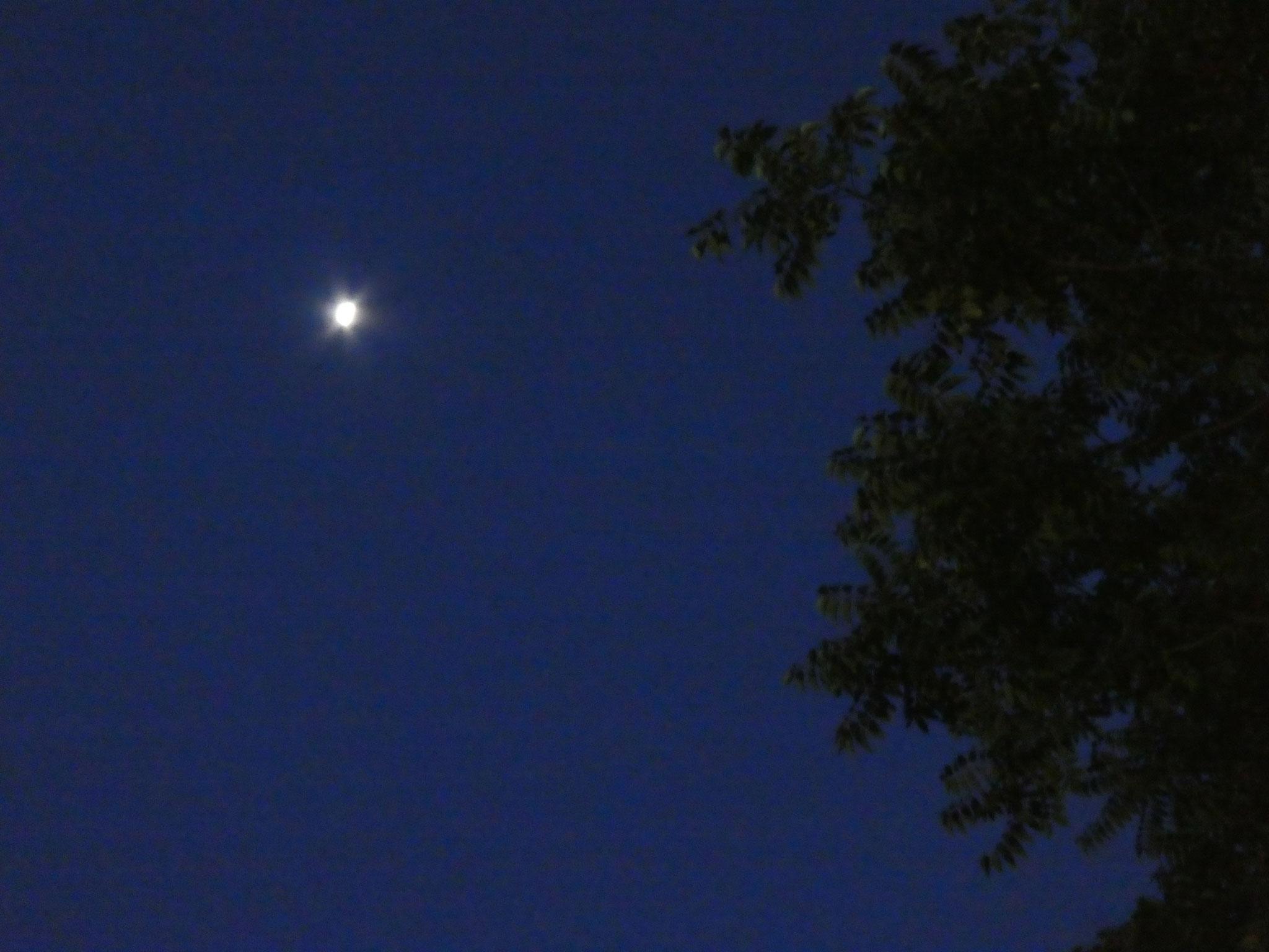 La lune surveille les installations de stands