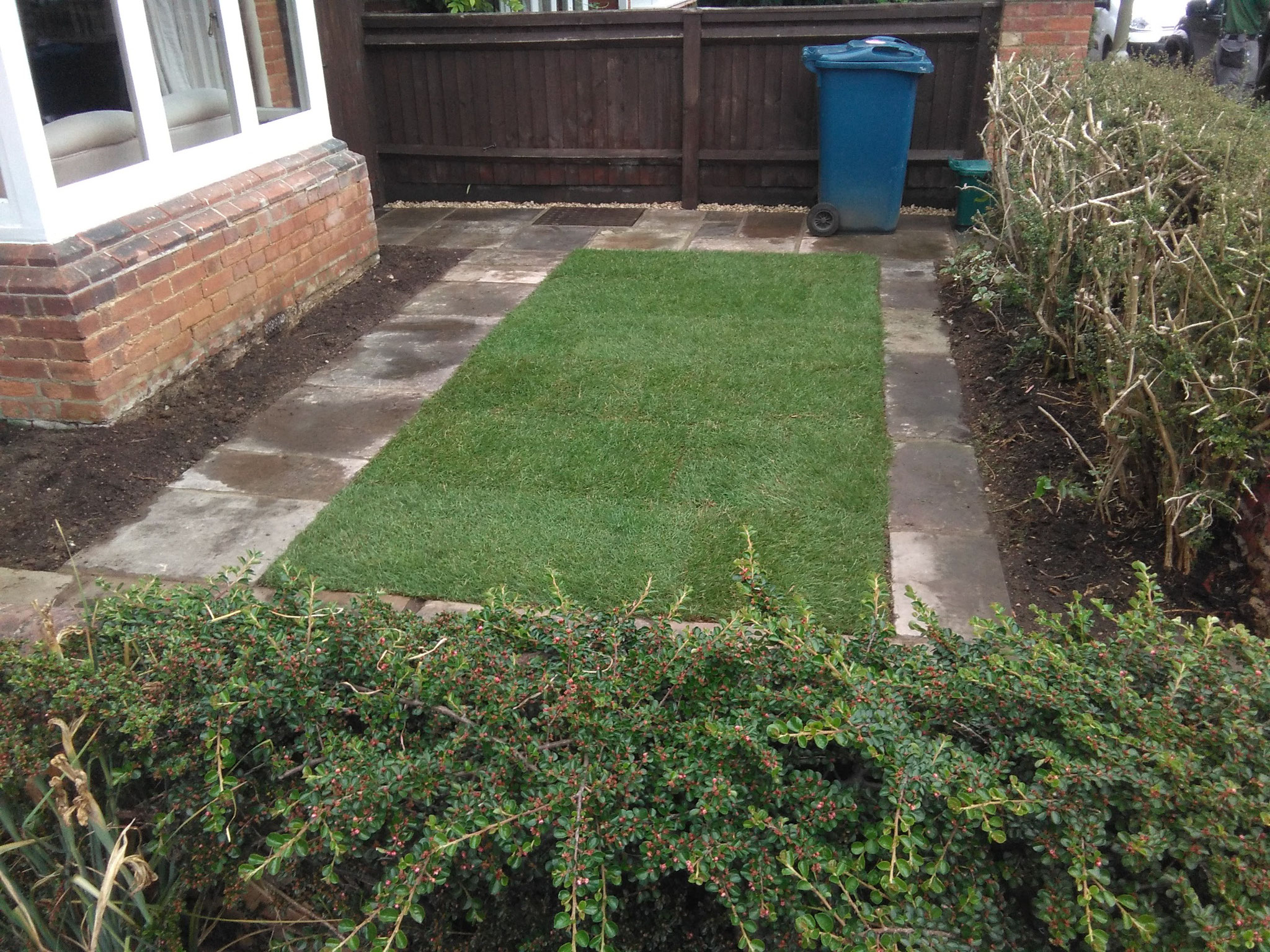 York stone and  lawn