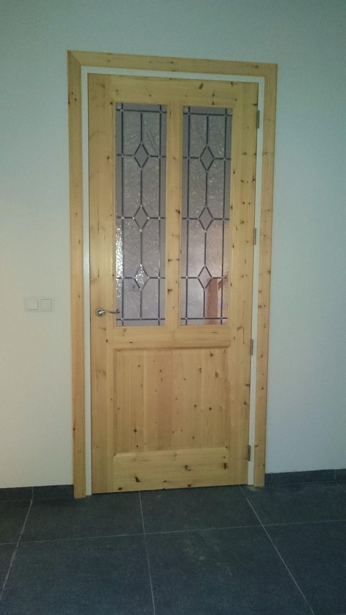 binnendeur Massief grenenhout en glas-in-lood