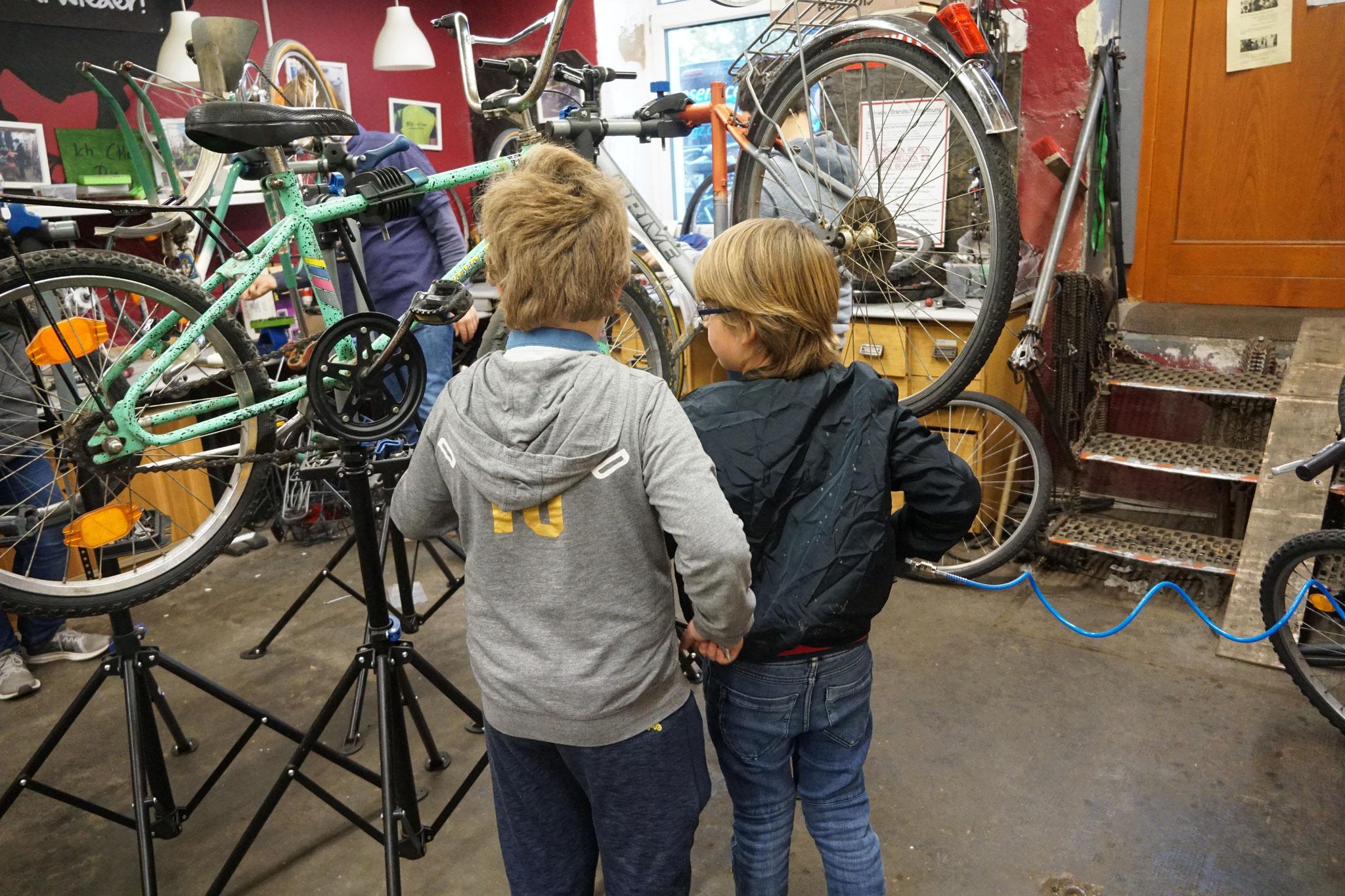 ... reparieren Fahrräder...