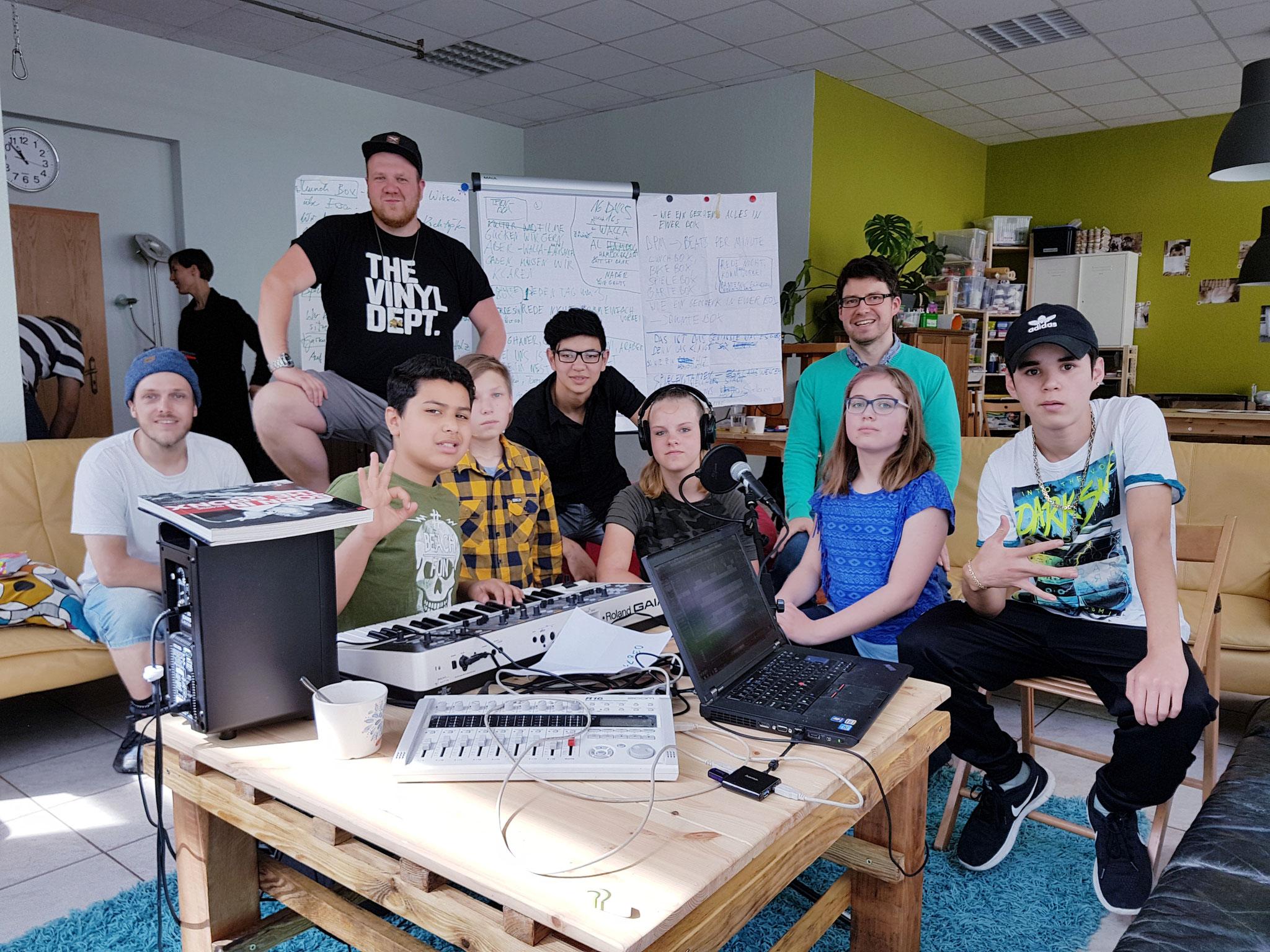Teilnehmer des Hip-Hop-Workshops