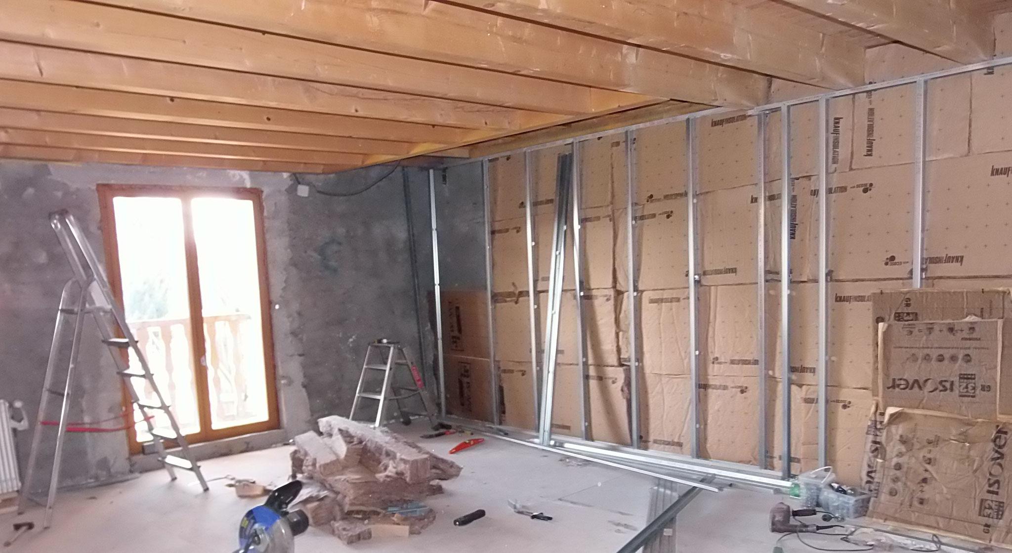 Janvier-Février 2018 : montage des murs et isolation