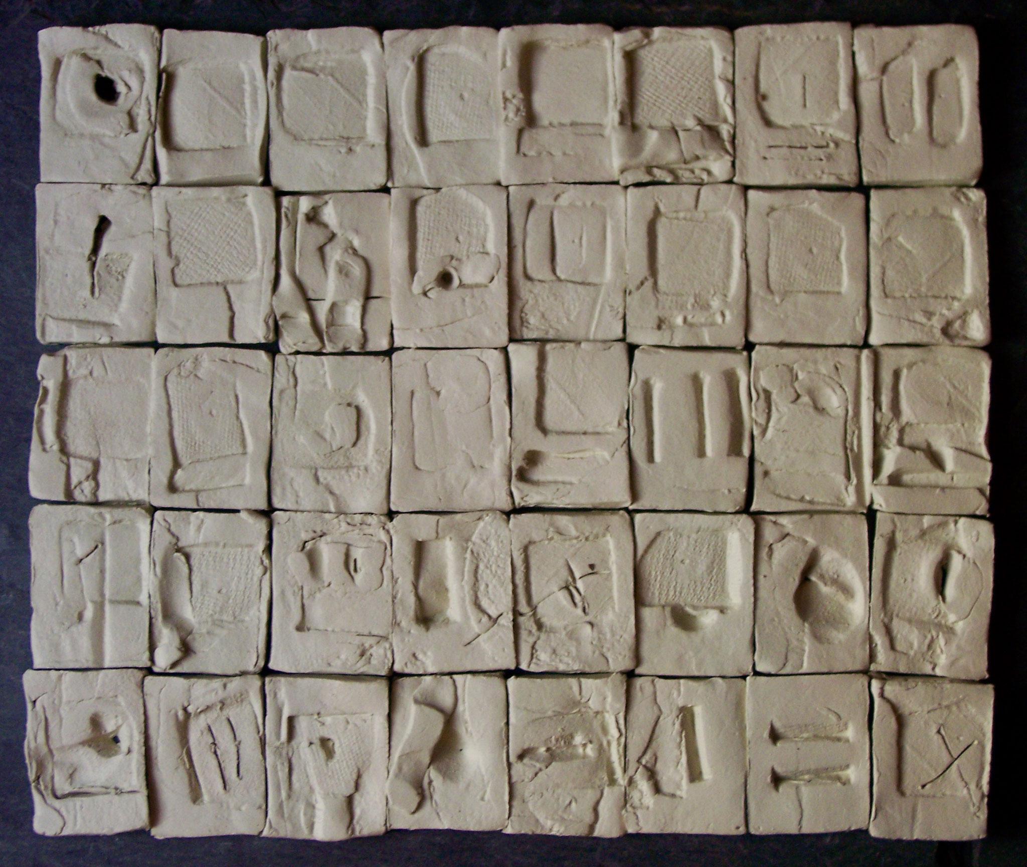 Gratitude Tiles. Ceramic & paint-UNAVAILABLE.